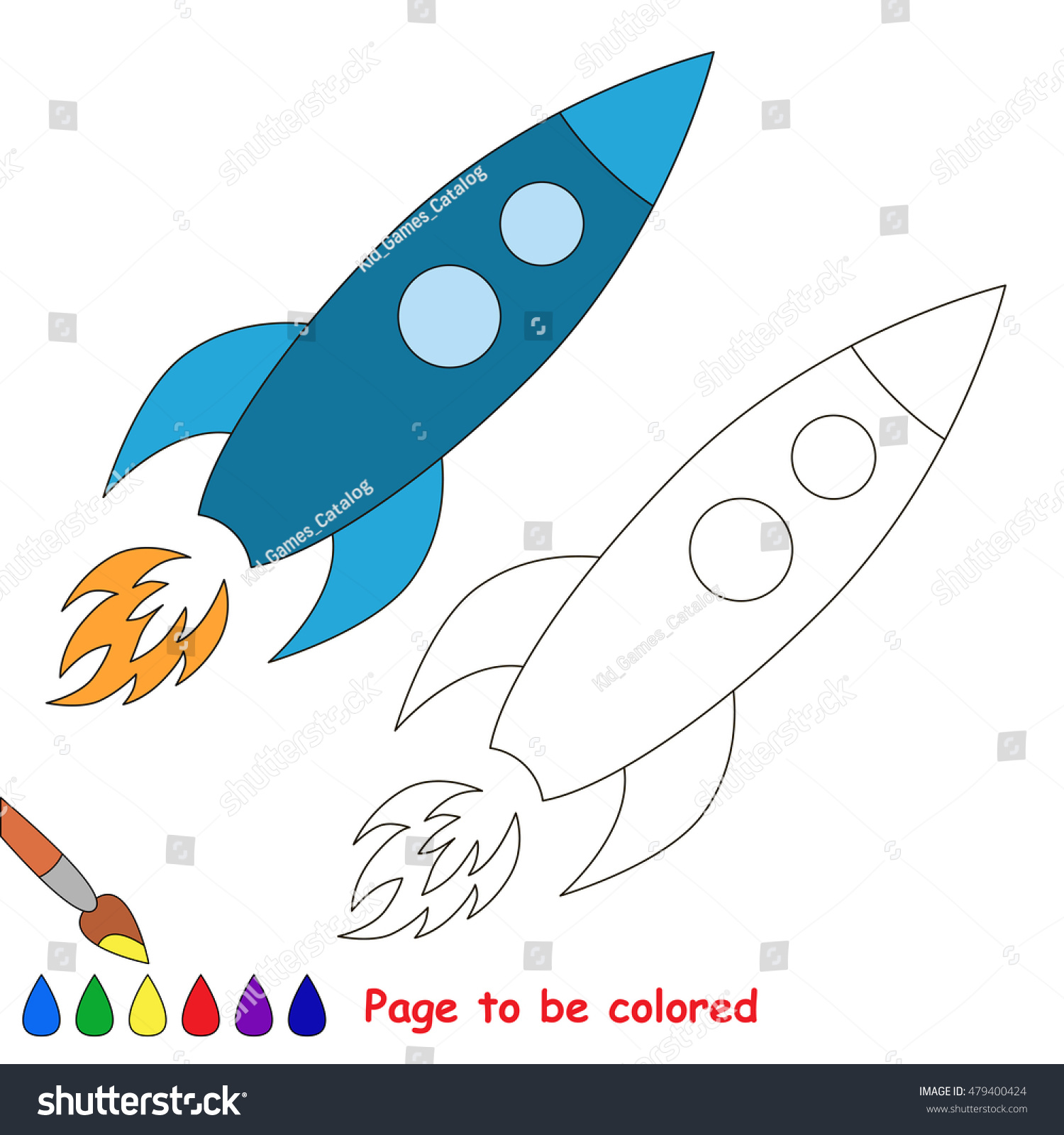 Metal Space Rocket Be Colored Coloring Stock Vector (Royalty Free ...