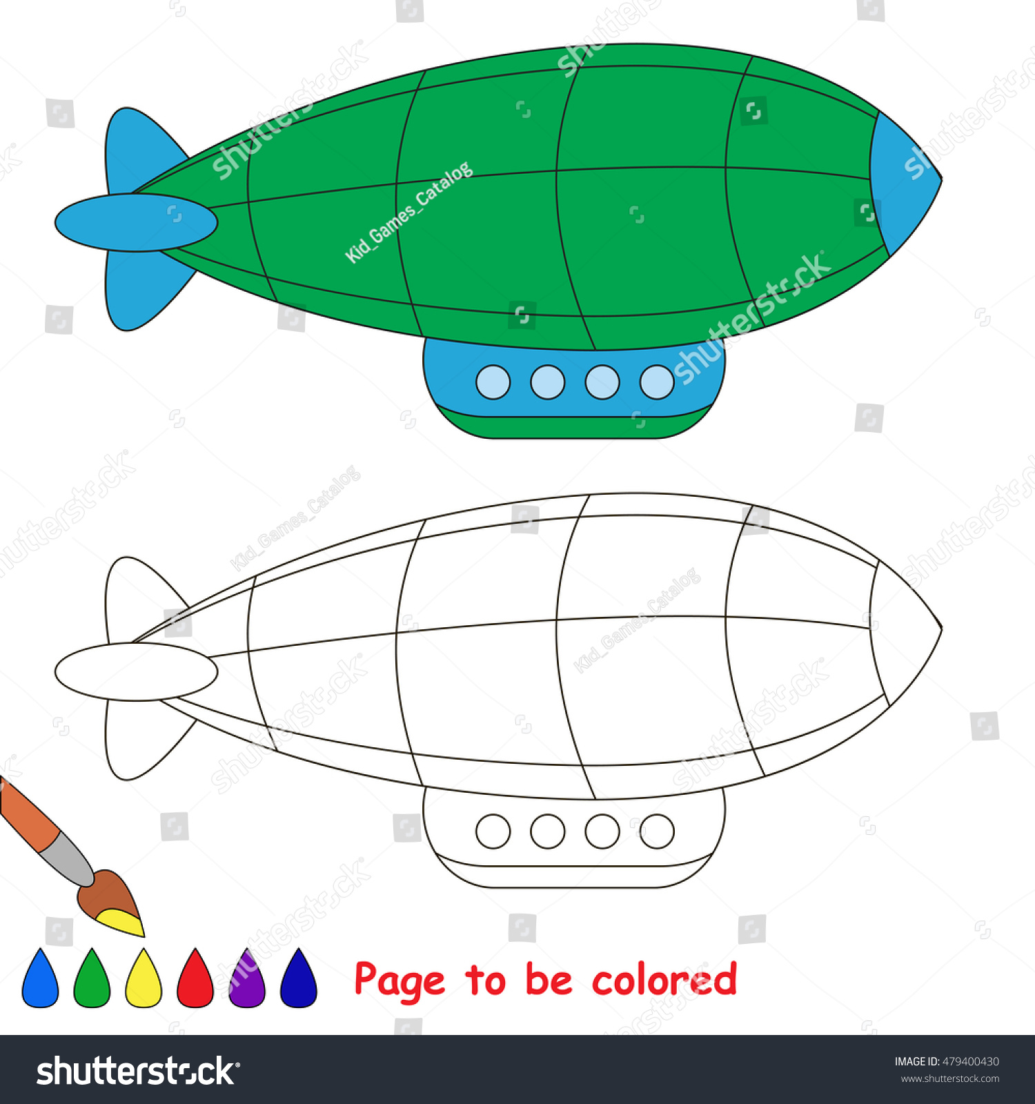 Green Zeppelin Be Colored Coloring Book Stock Vector 479400430 ...