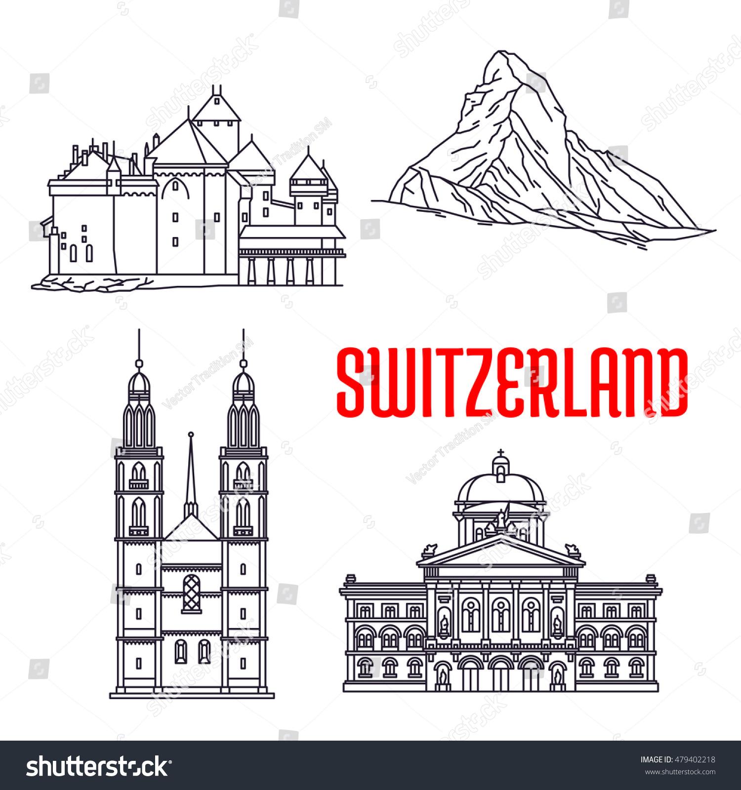 Historic Landmarks Buildings Switzerland Vector Icons Stock Vector