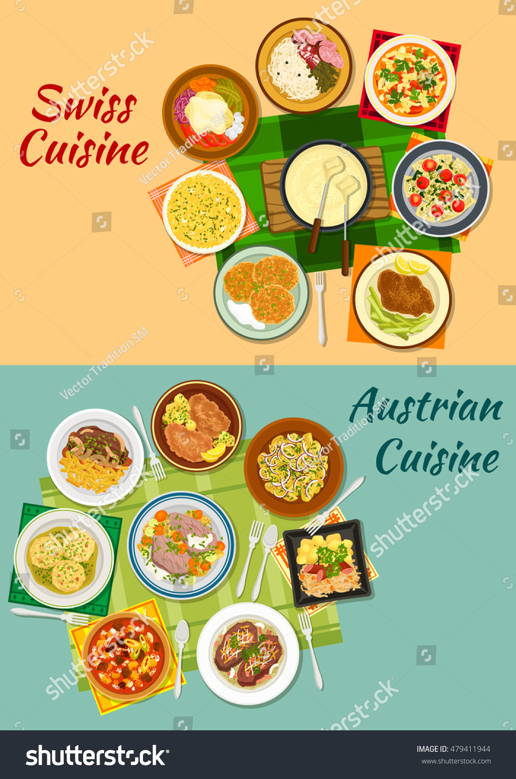 Swiss And Austrian Cuisine Icon With Cheese Fondue Various Meat And Potato Dishes With Pickles
