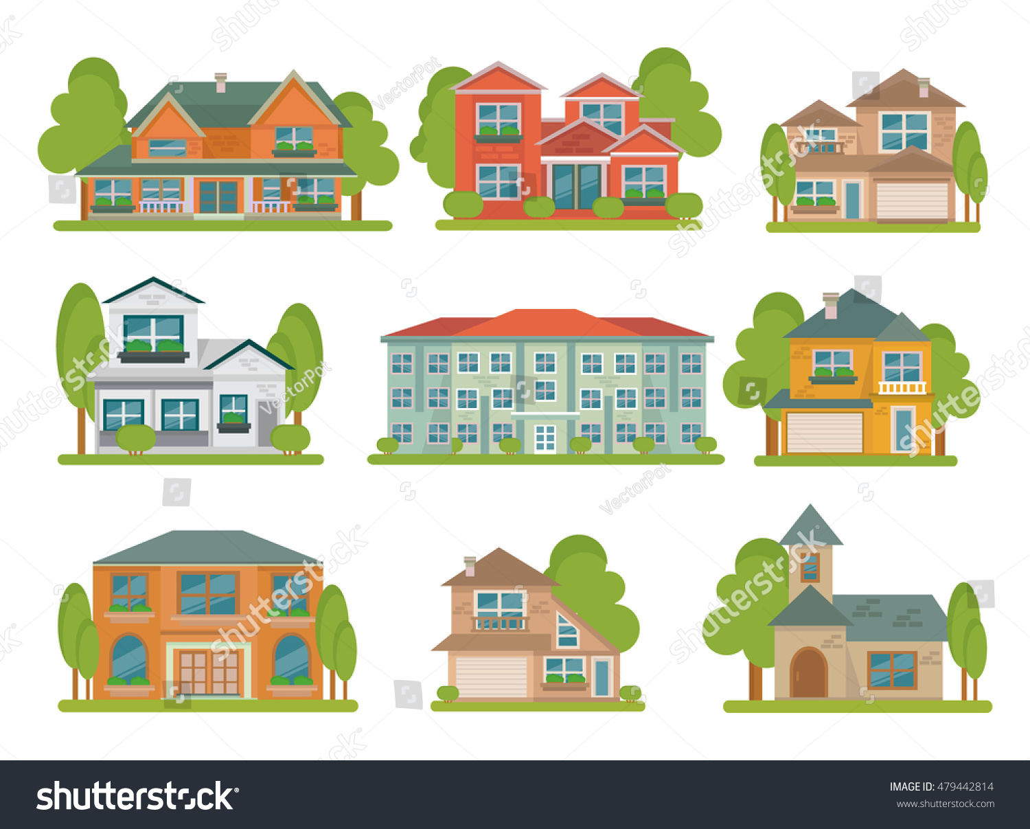 Different Types Of Buildings : Isolated colored different types buildings flat stock