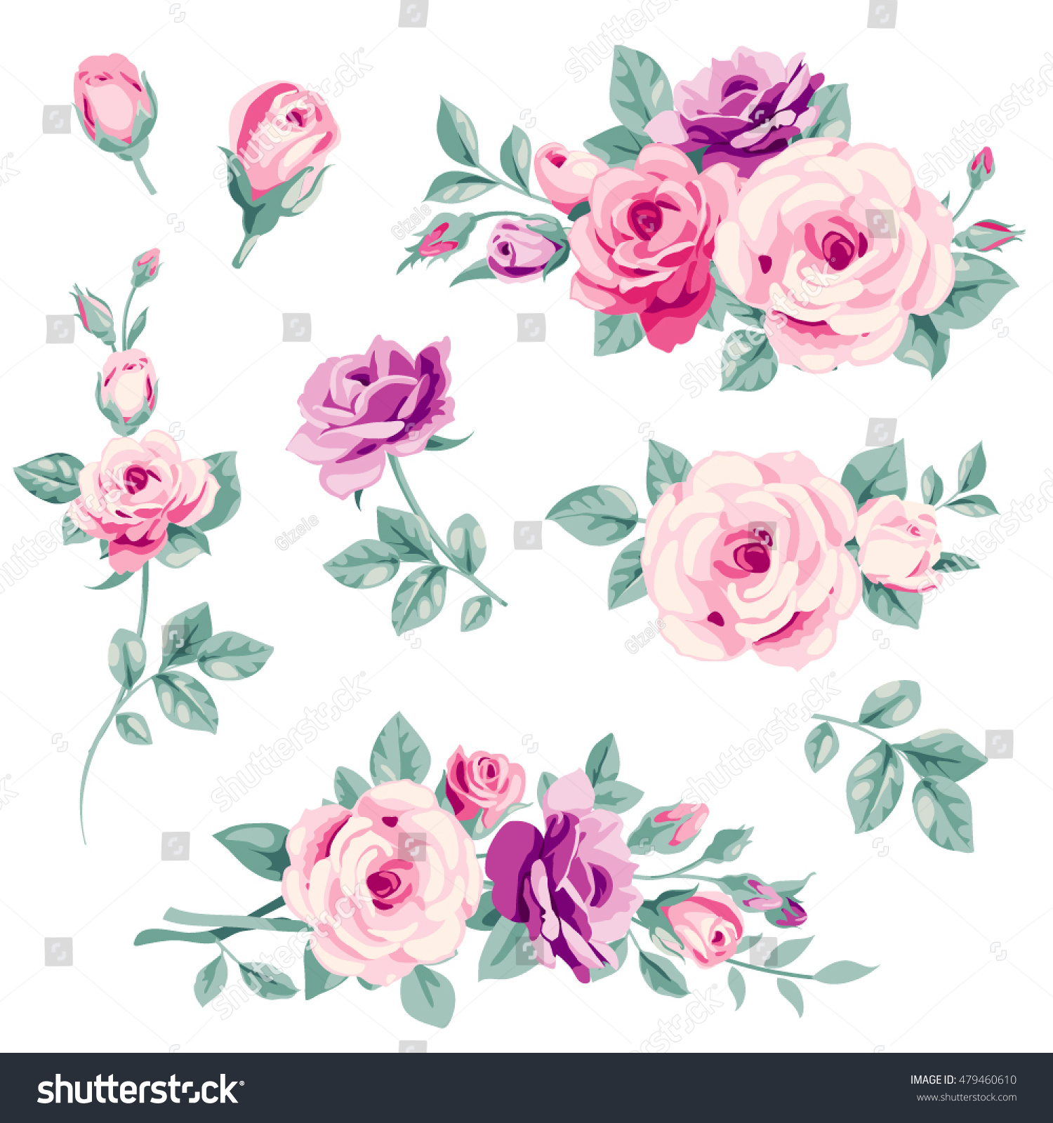 Vector Set Pink Roses Buds Decorative Stock Vector Royalty Free