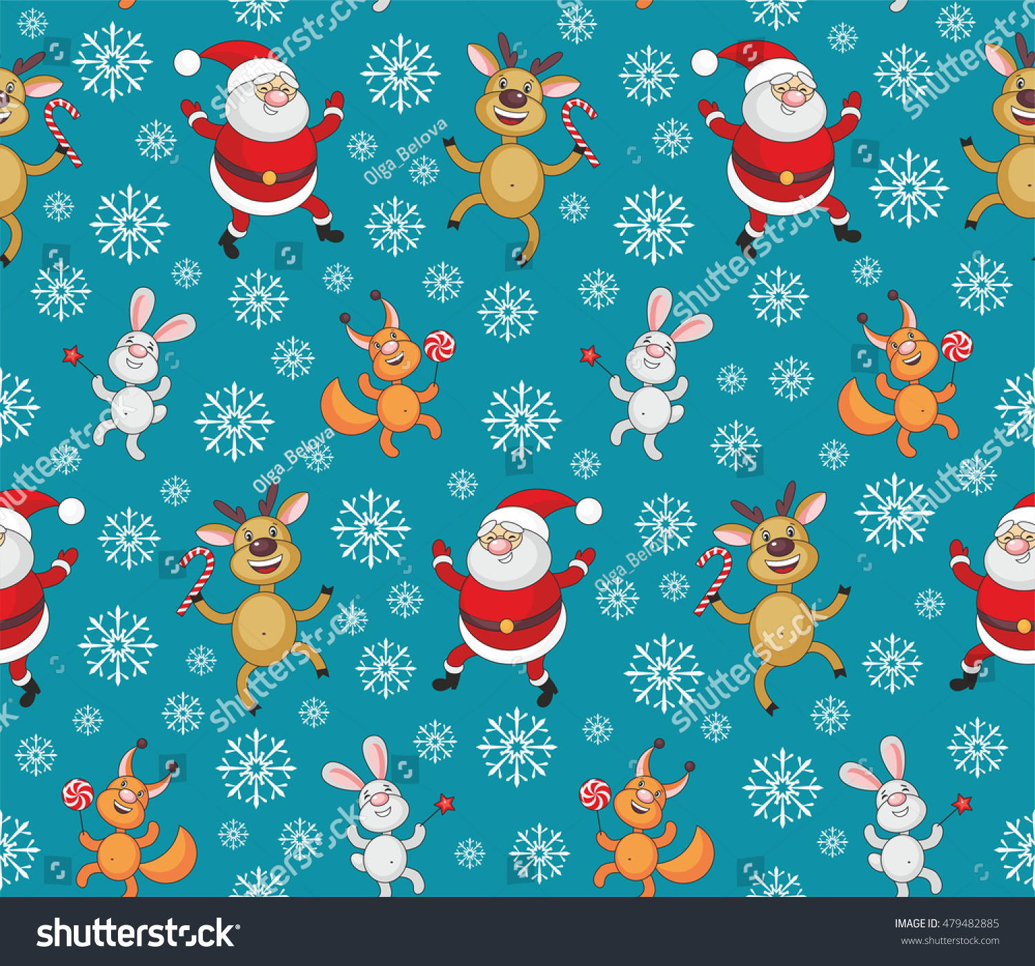 Christmas Seamless Pattern Image Funny Animals Stock Vector (Royalty ...