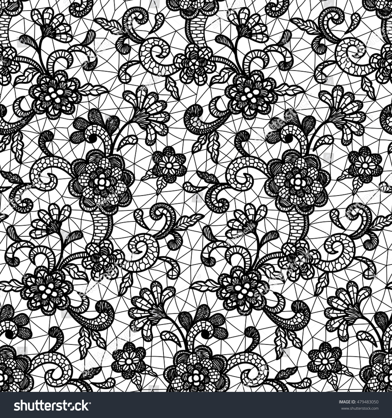 Black and white lace design with floral motifs vector seamless repeating pattern