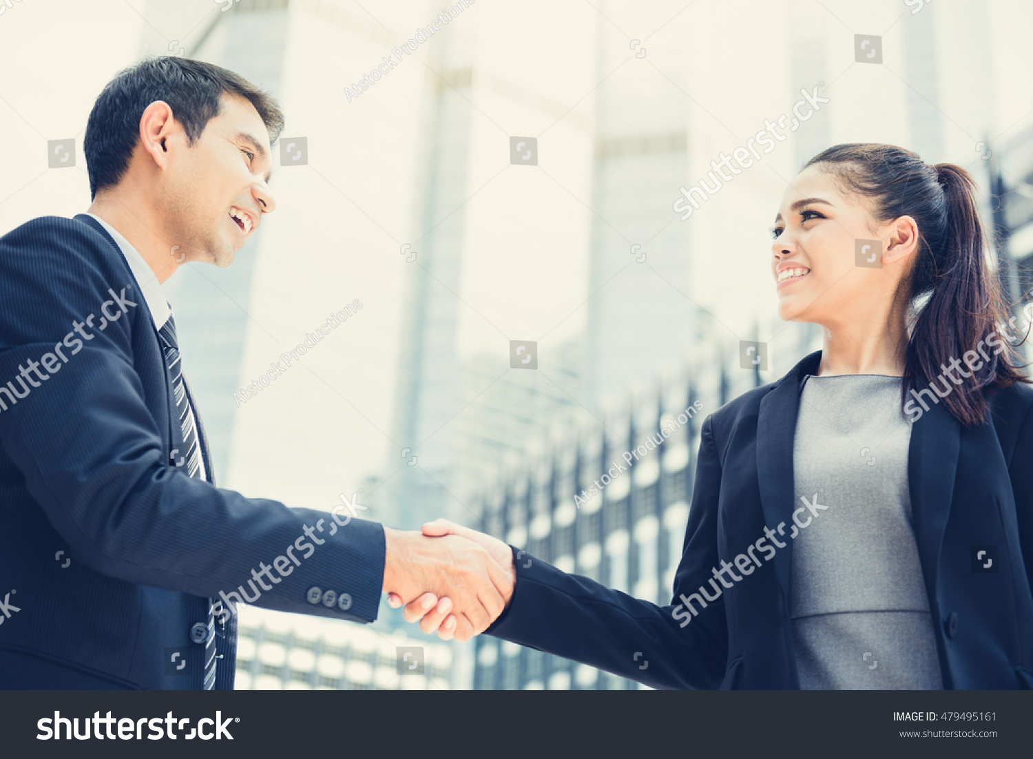 Business people handshake greeting deal at work photo free download - Businesswoman Making Handshake With A Businessman Greeting Dealing And Partnership Concepts Vintage Tone