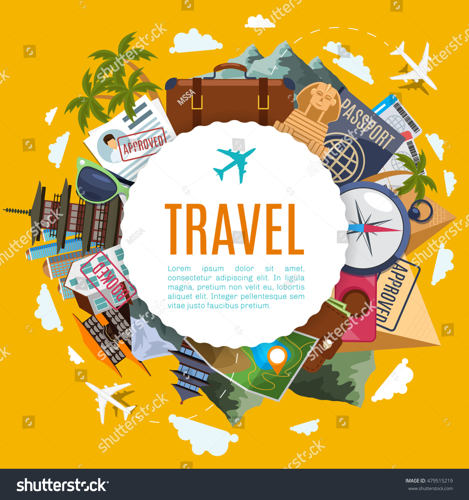 Travel Tourism Label Attractions On Yellow Stock Vector - Japan visa map
