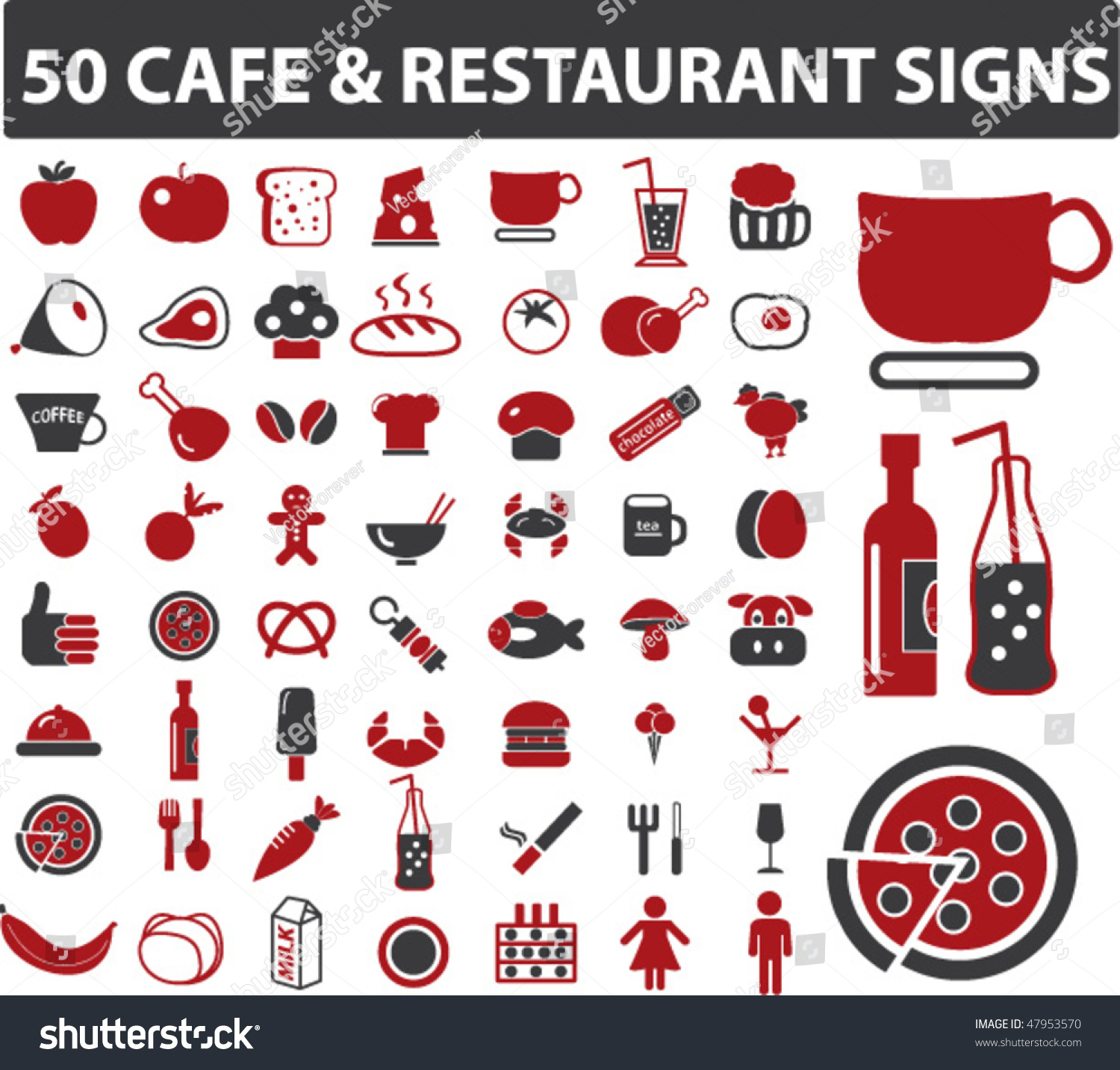 50 cafe restaurant signs vector stock vector royalty free 47953570
