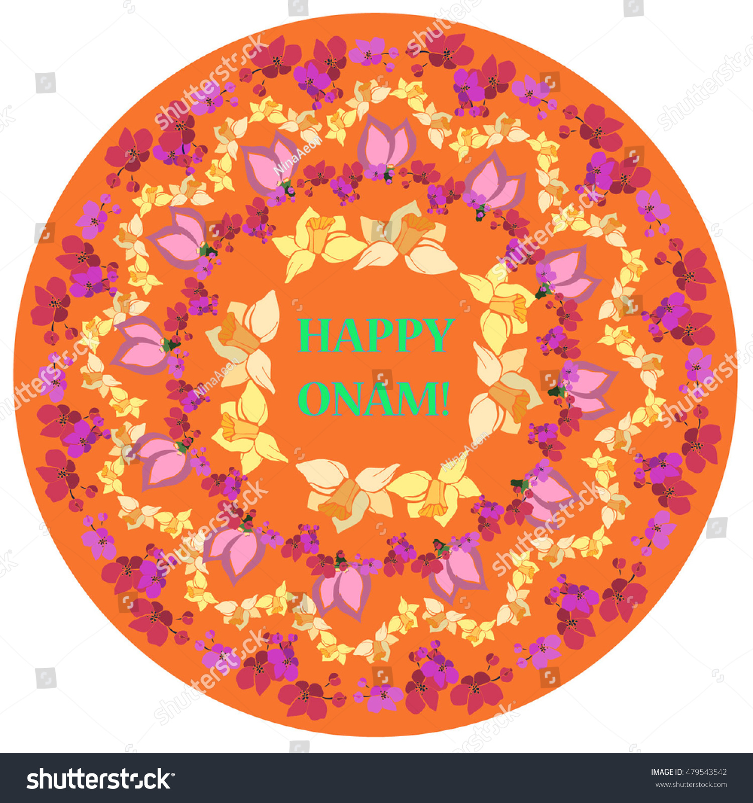 Happy Onam Flower Rangoli Vector Object Holiday Decoration For Festival In Kerala Colorful