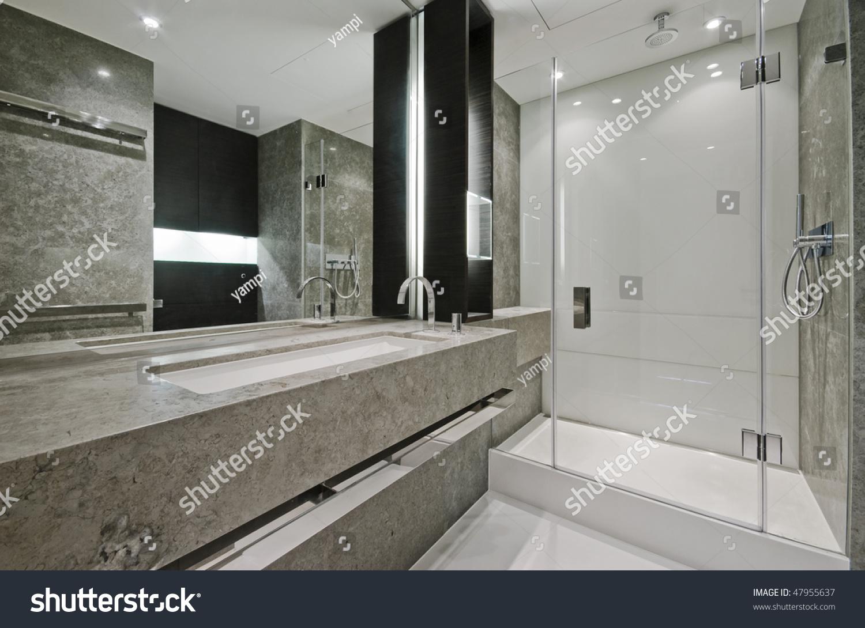 Luxury modern en suite bathroom with marble finish stock photo - Luxury Modern En Suite Bathroom With Marble Finish Stock