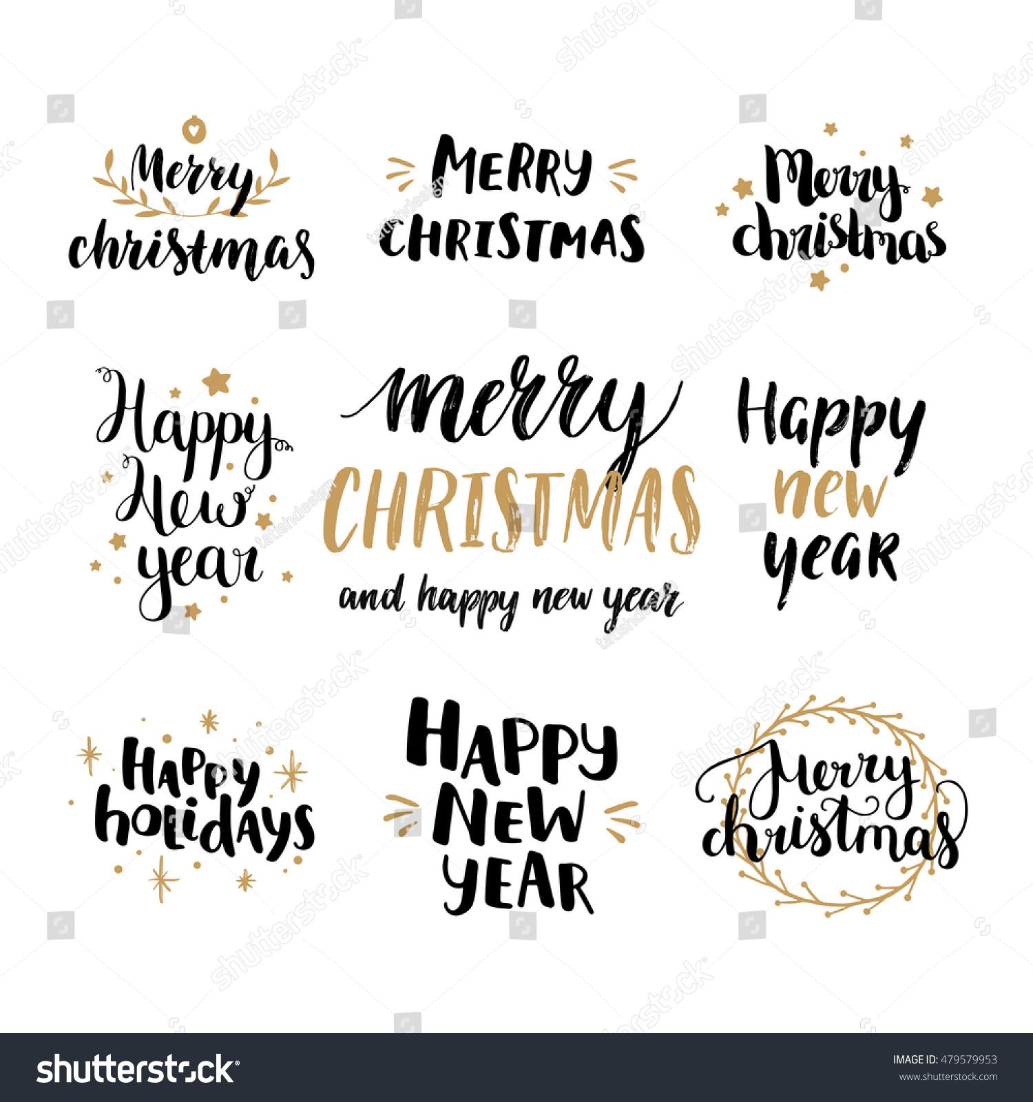Set Hand Drawn Merry Christmas Happy Stock-Vektorgrafik (Lizenzfrei ...