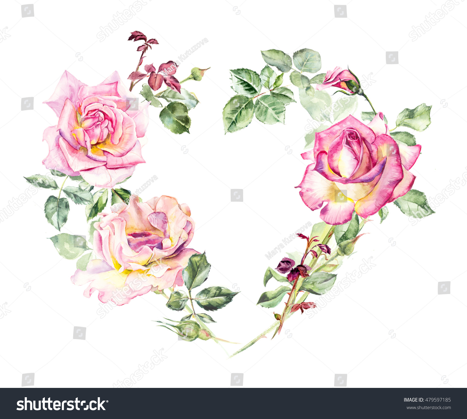 Frame Heart From Roses Wedding Drawings Greeting Cards Flower