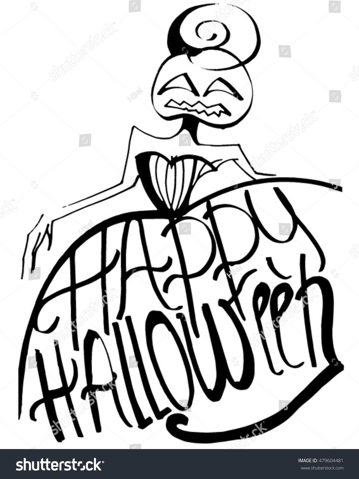 Halloween Party Design Pumpkin Girl Vector Stock Vector 479604481 ...