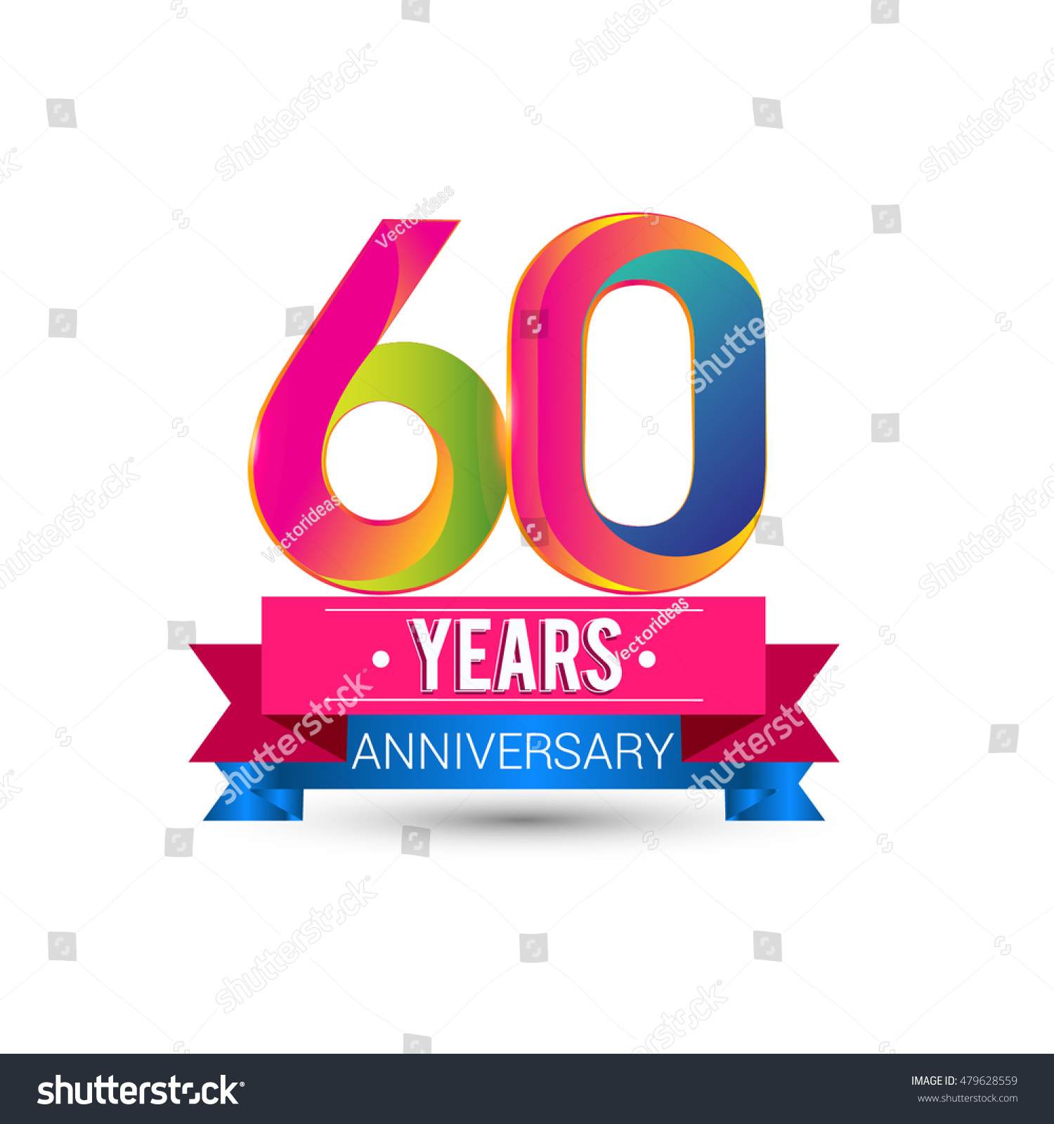 60 Years Anniversary Celebration Logo Red Stock Vector ...Red And Blue Ribbon Logo