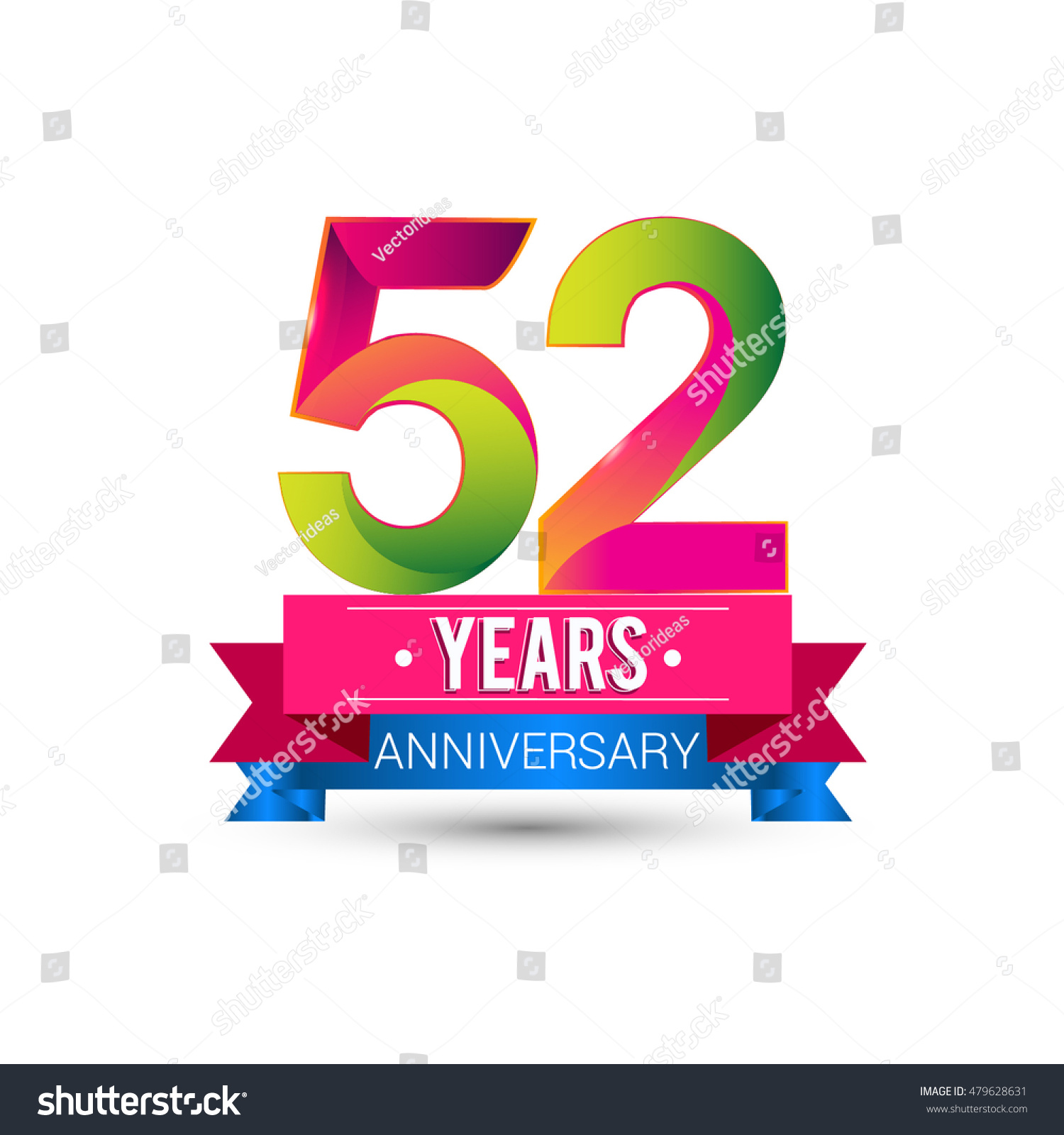52 Years Anniversary Celebration Logo Red Stock Vector ...