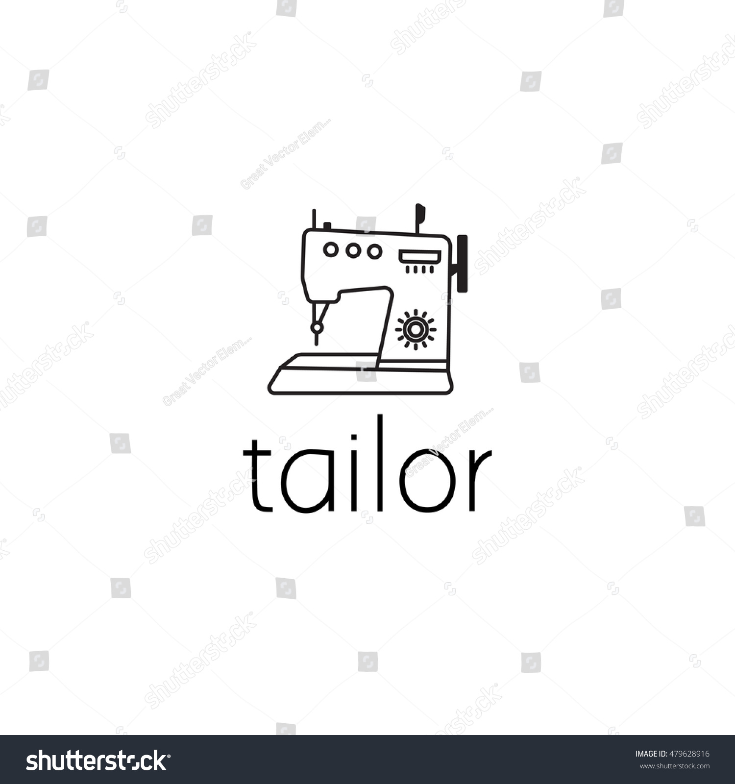 Sewing Machine Logo Graphic Design Concept Stock Vector Royalty Diagram Car Interior Editable Element Can Be Used As