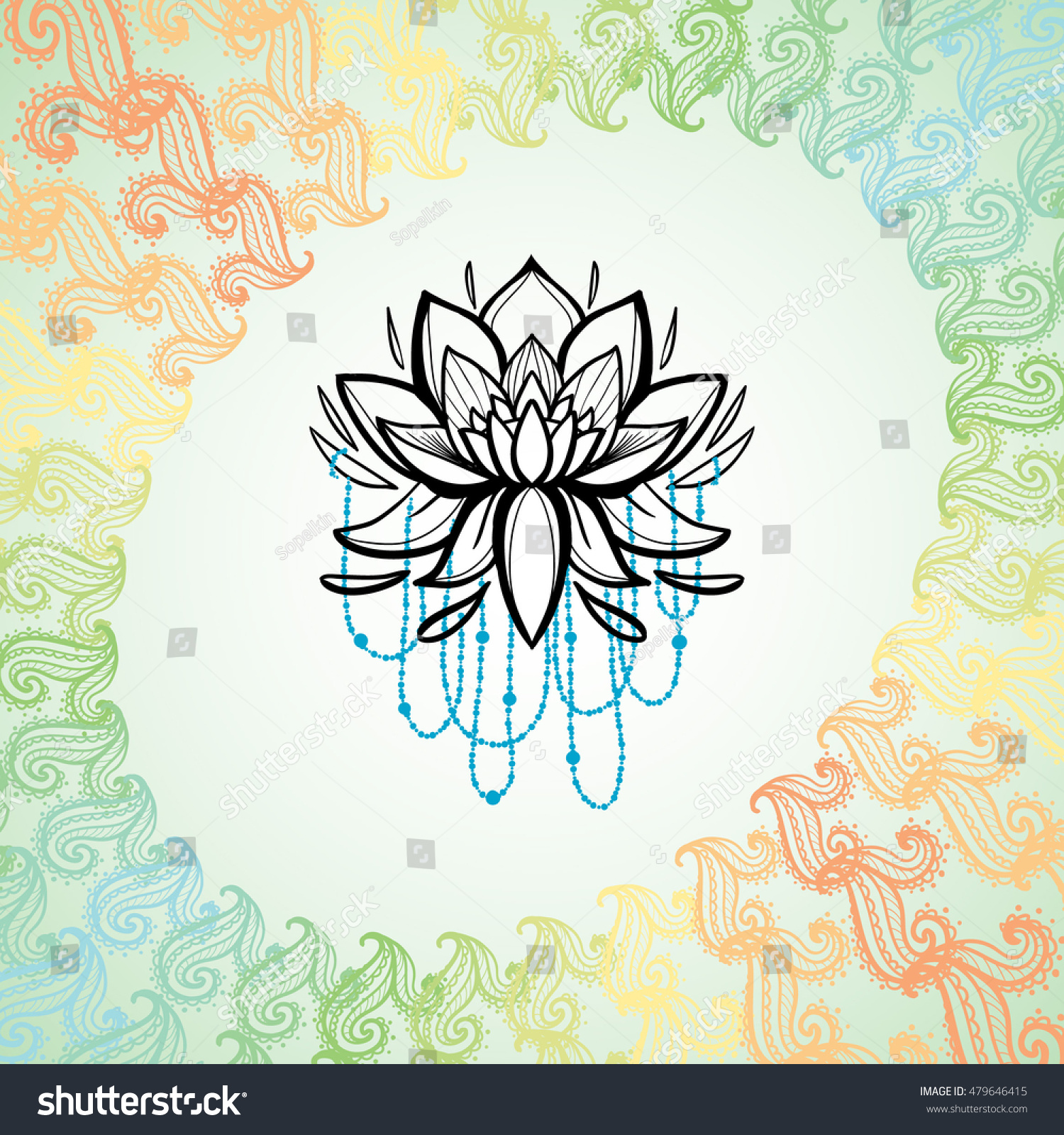 Lotus Flower Frame Floral Paisley Symbol Stock Vector Royalty Free