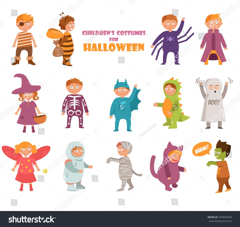 kids costumes on halloween pirate bee stock vector 479659540