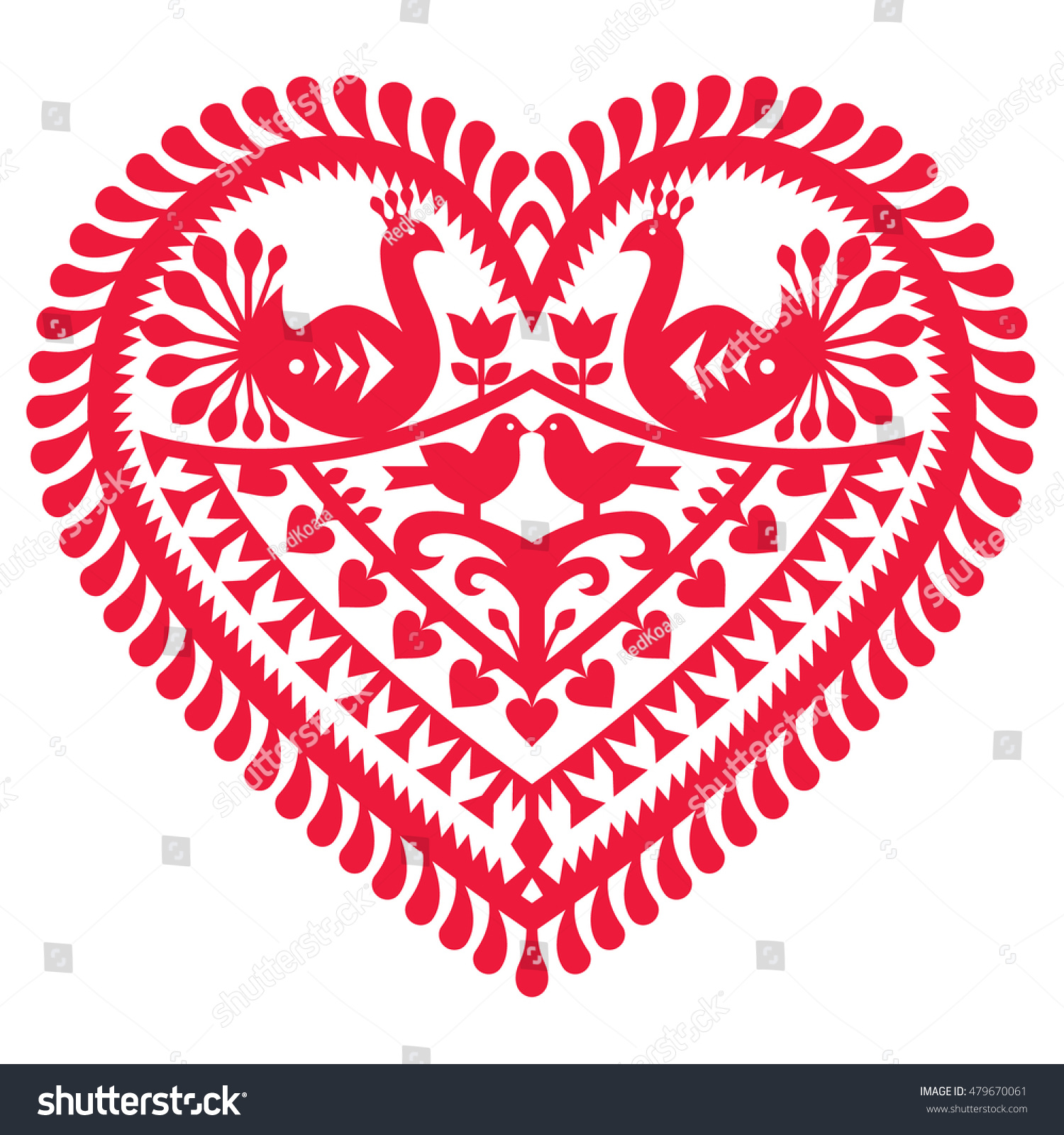 Polish Folk Art Pattern Valentines Day Stock Vector Royalty Free