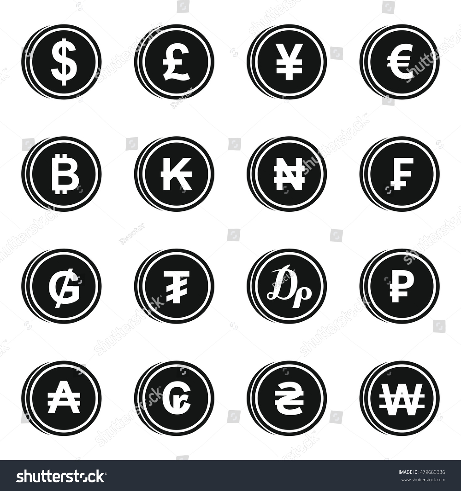 Currency Different Countries Icons Set Simple Stock Illustration