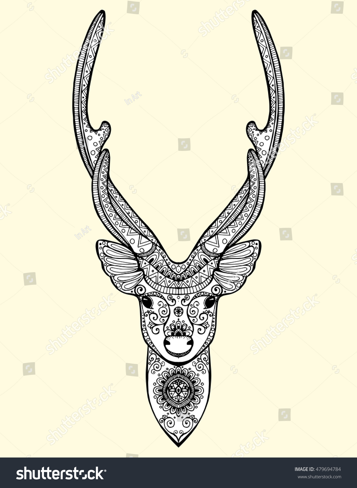 Stylized Portrait Deer Head Forest Animals Stock Vector Royalty