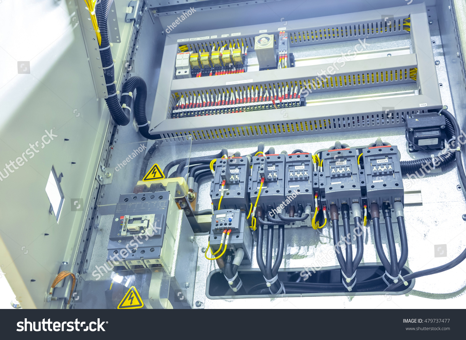 Electrical Distribution Panel Grey Many Switch Stock Photo (Royalty ...