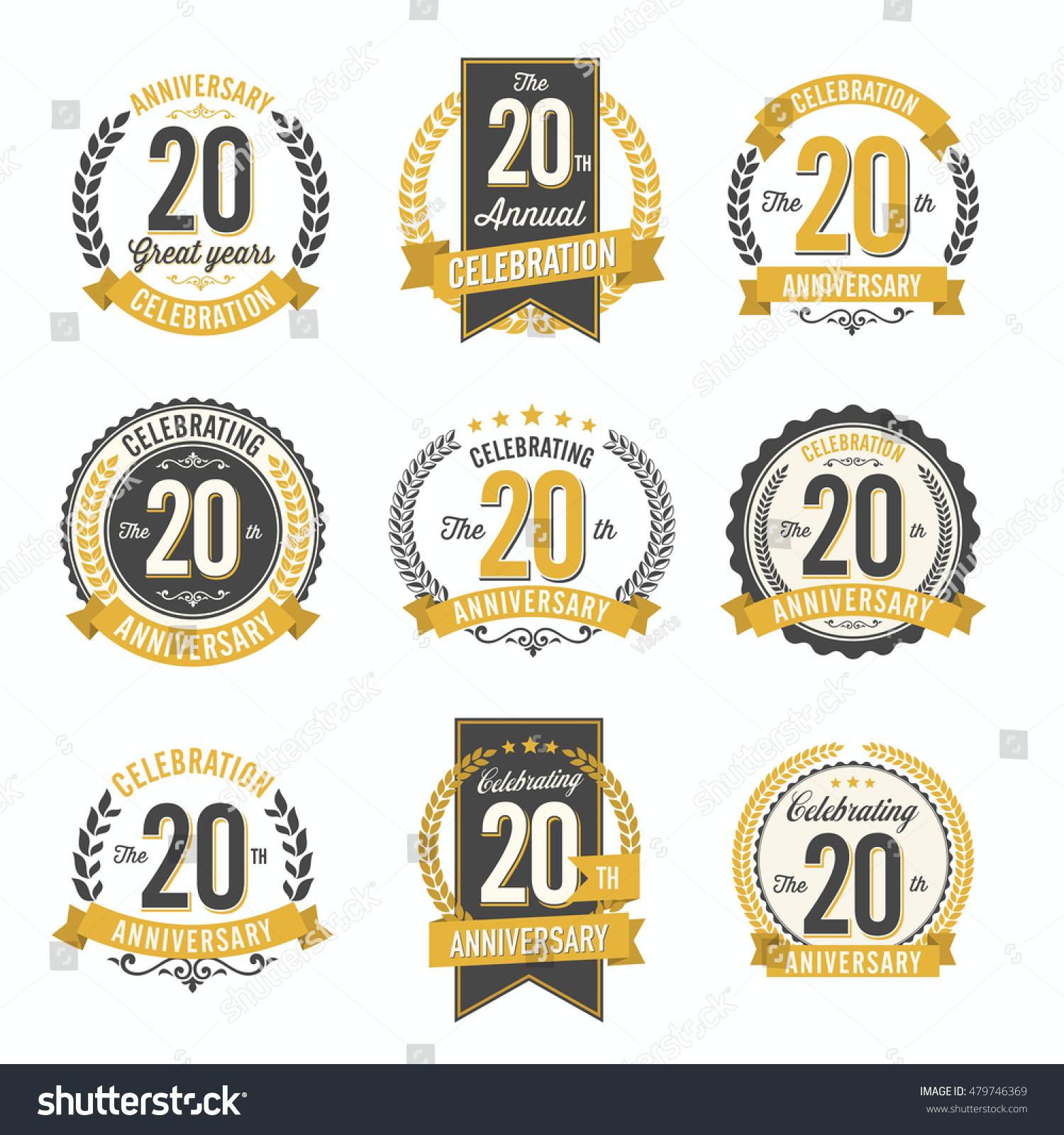 Set vintage anniversary badges 20th years stock vector 479746369 set of vintage anniversary badges 20th years celebration biocorpaavc Choice Image