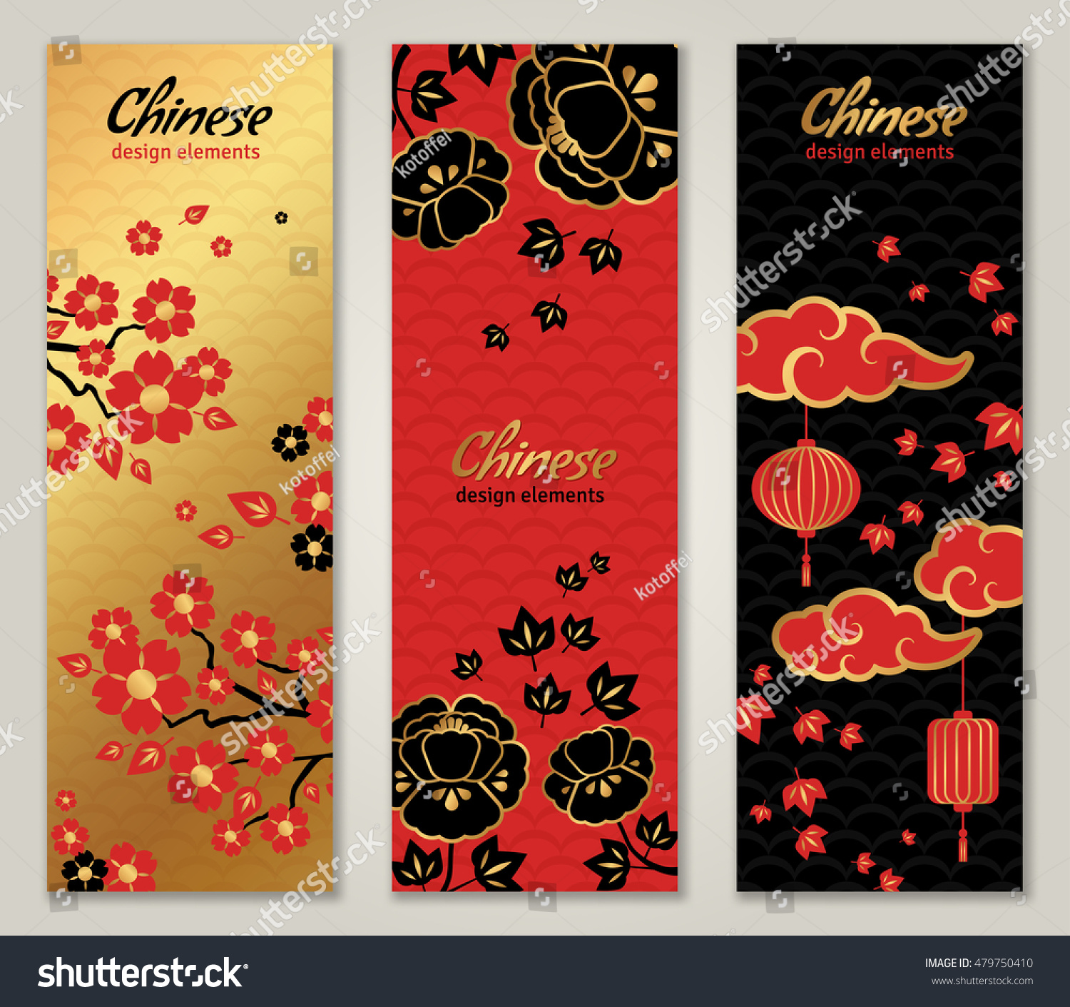 vertical banners set with chinese new year graphic elements vector illustration asian lantern