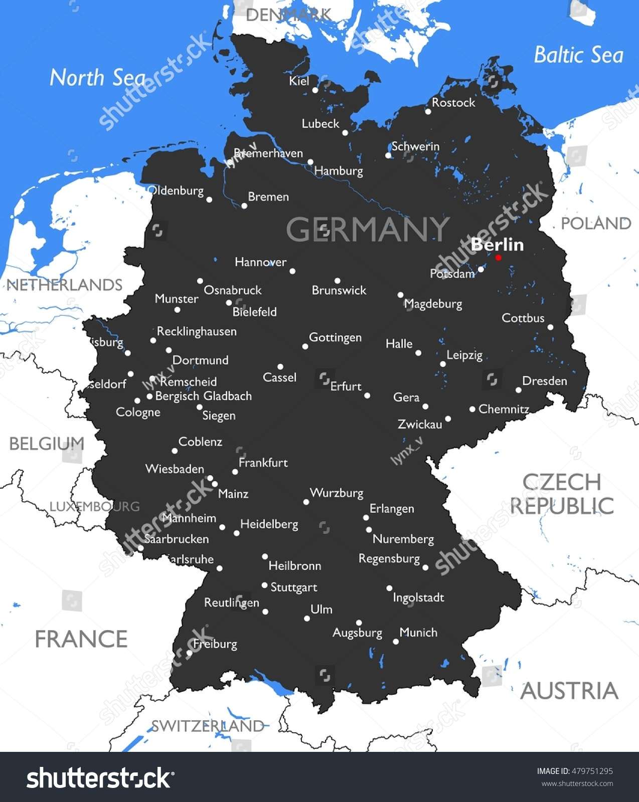 Germany Map Vector Detailed Color Germany Stock Vector - Germany map detailed