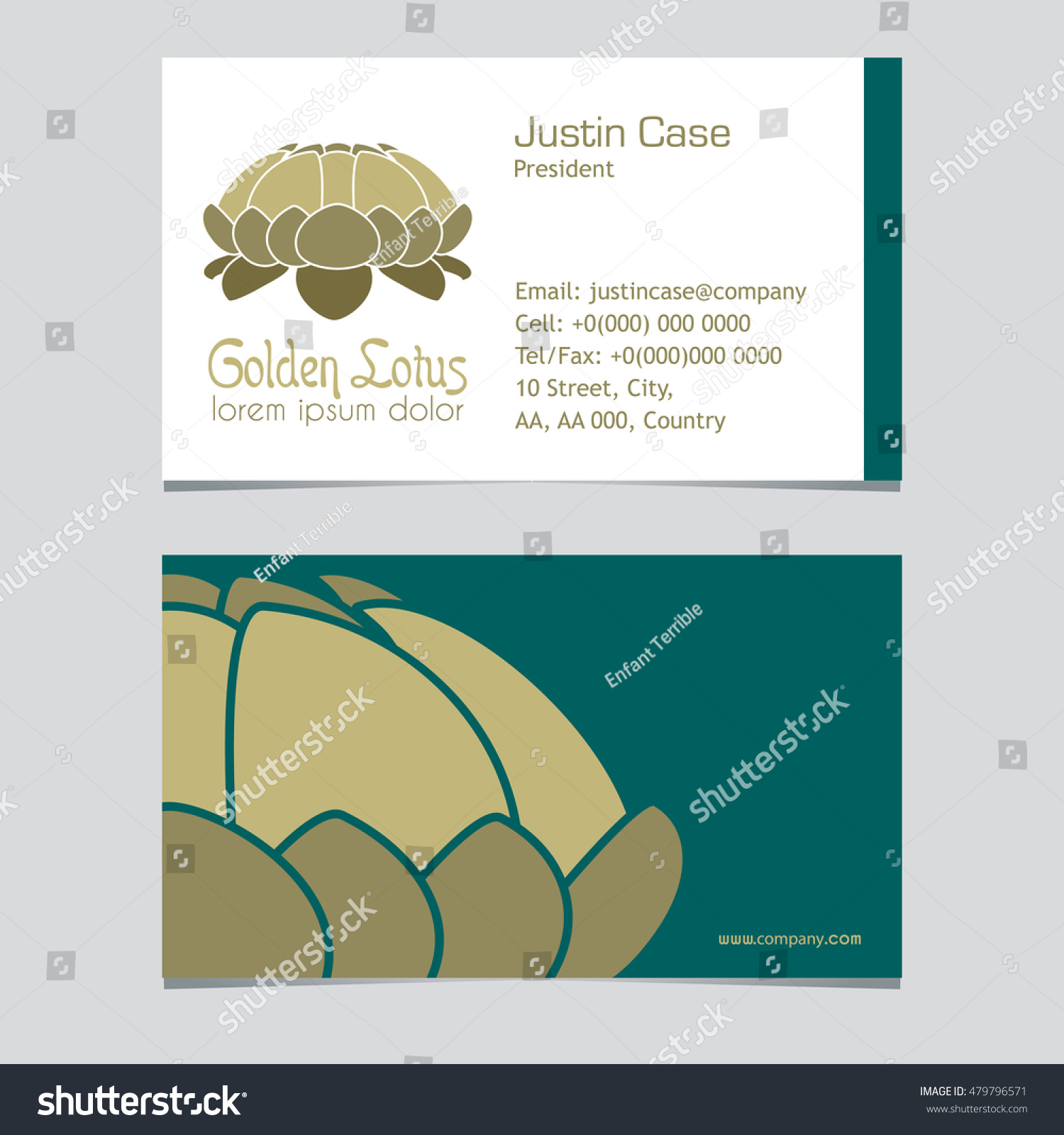 Lotus Flower Vector Icon Business Card Stock Vector (2018) 479796571 ...