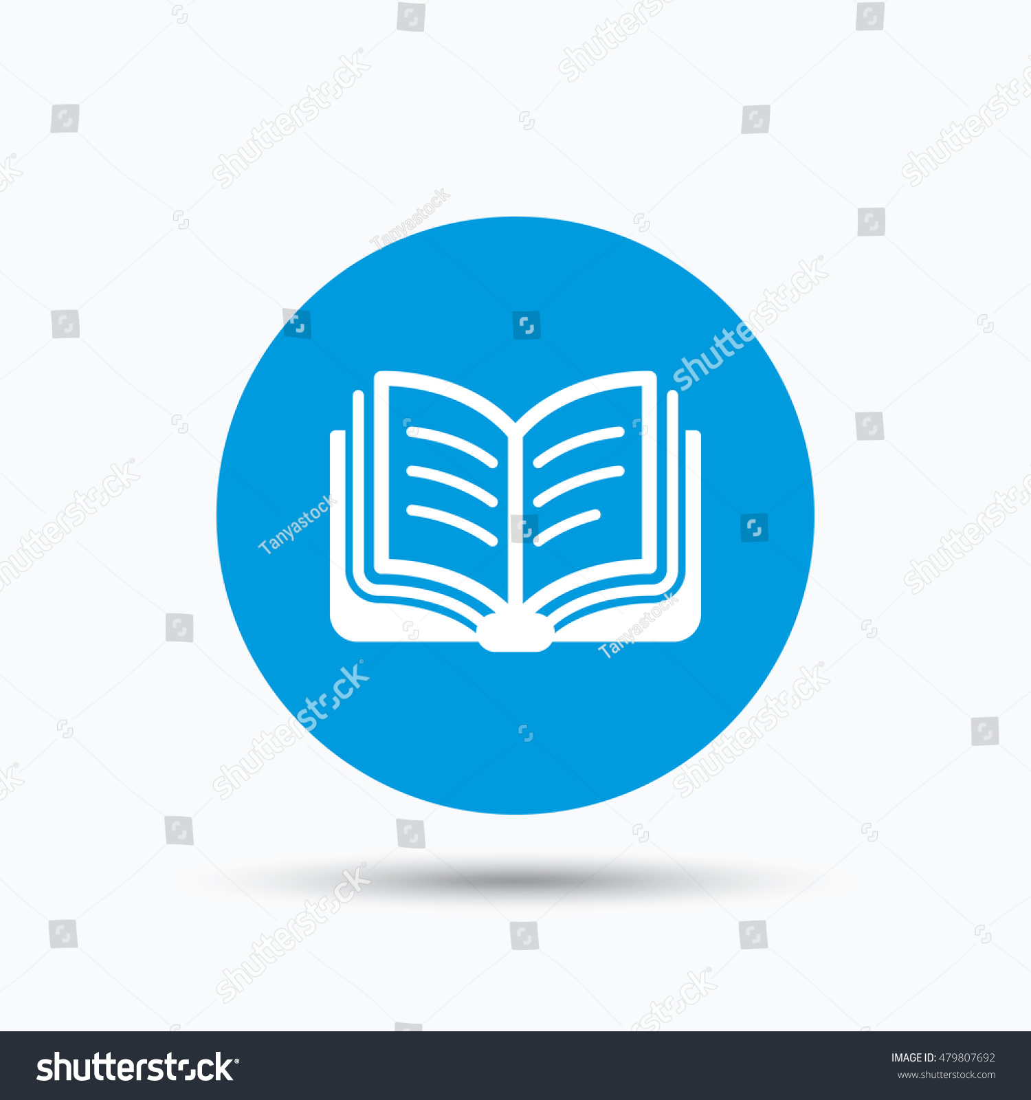 book icon study literature sign education stock vector  study literature sign education textbook symbol blue circle button flat