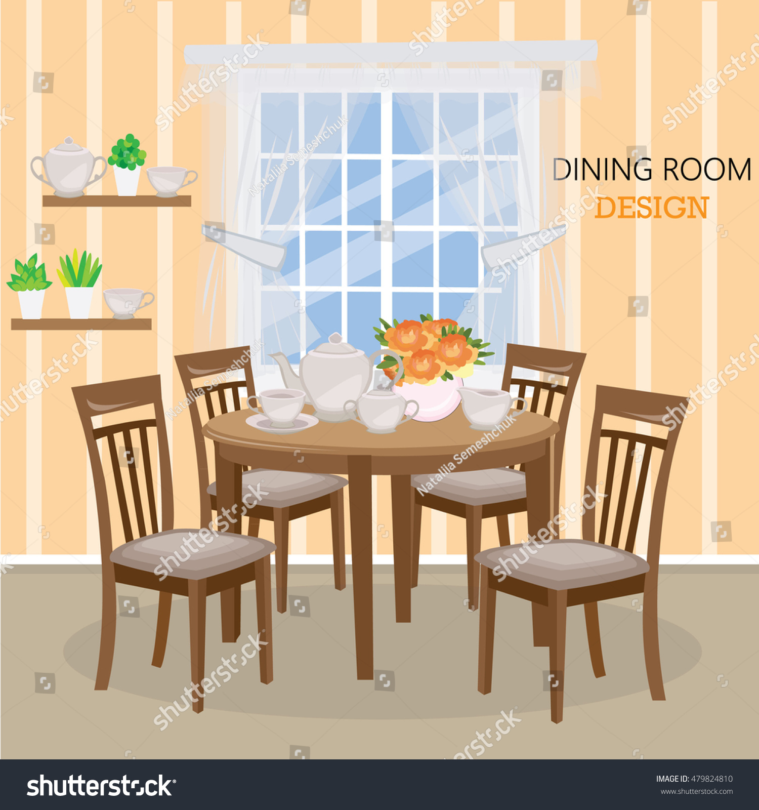 Dining Room With A Big Window, Vase With Roses And Tea Set. Flat Style