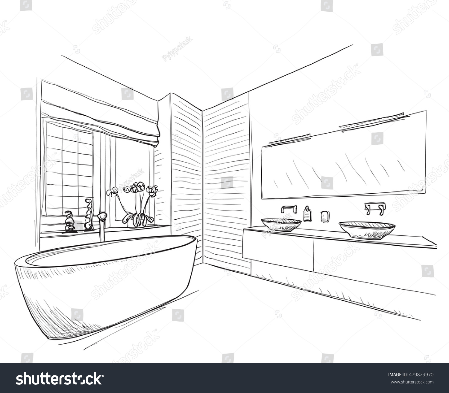 Hand Drawn Bathroom Image Vectorielle 479829970