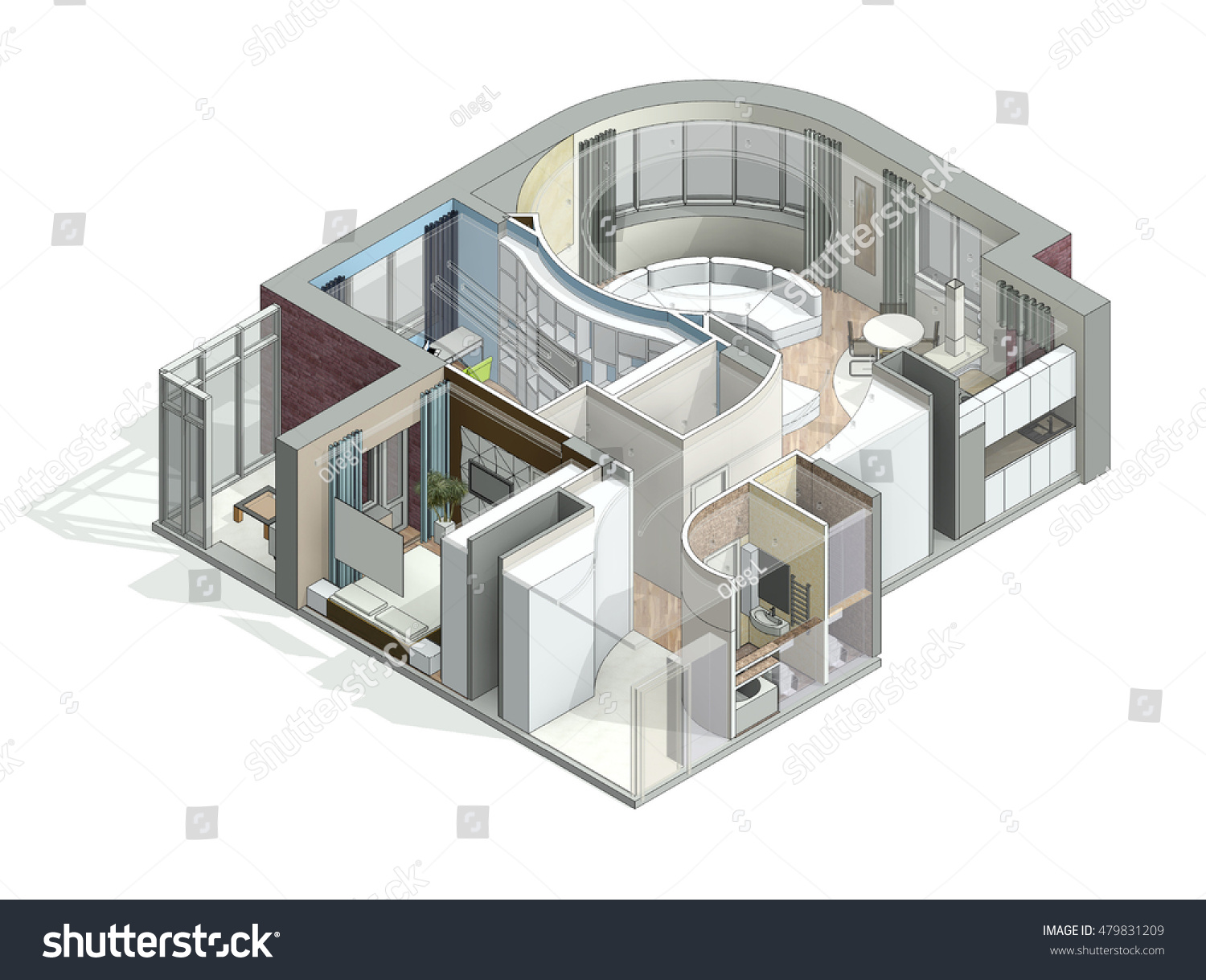 3d isometric view cut residential house stock illustration