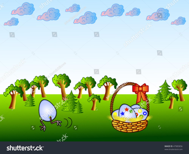 Easter Background Cartoon Funny Egg Basket Stock Vector