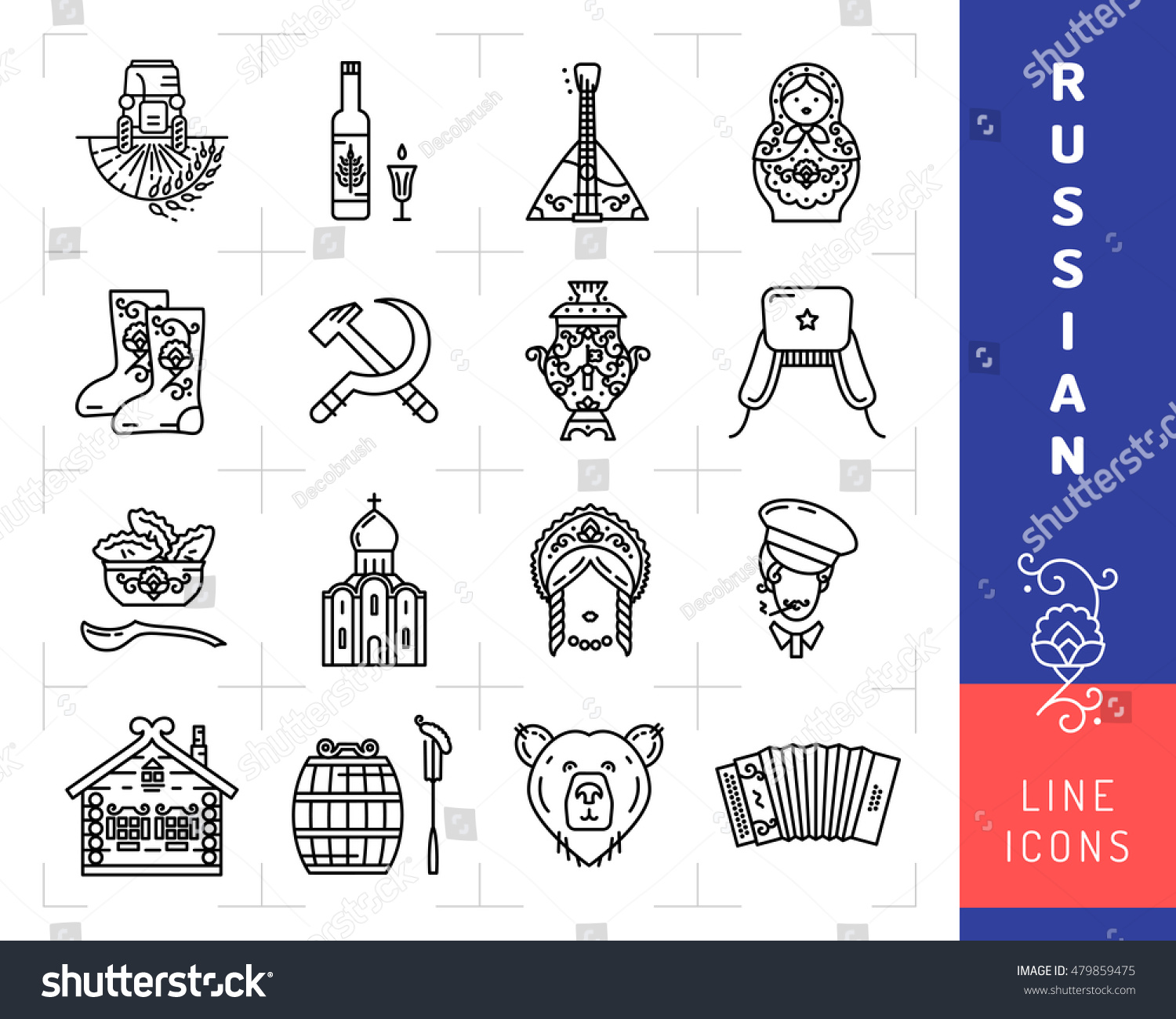 Russian Culture Black Thin Line Icons Stock Vektorgrafik Lizenzfrei