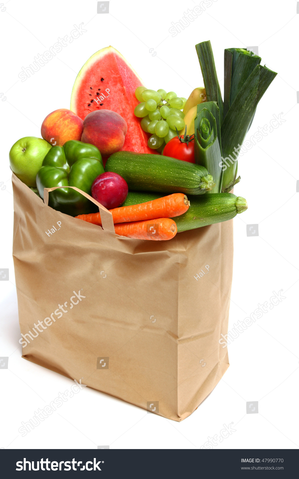 Grocery Bag Full Healthy Fruits Vegetables Stock Photo 47990770 ...