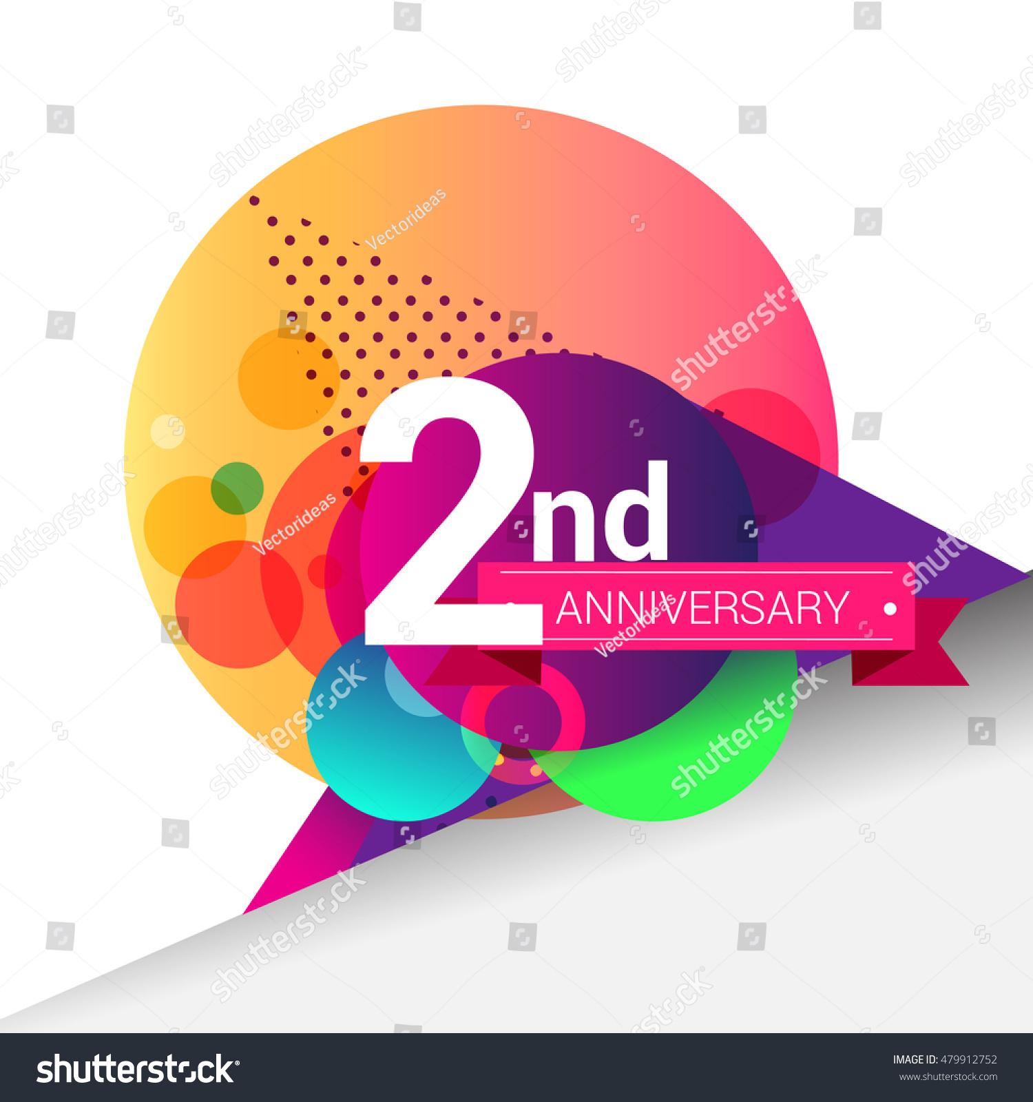 Nd anniversary logo colorful geometric background stock