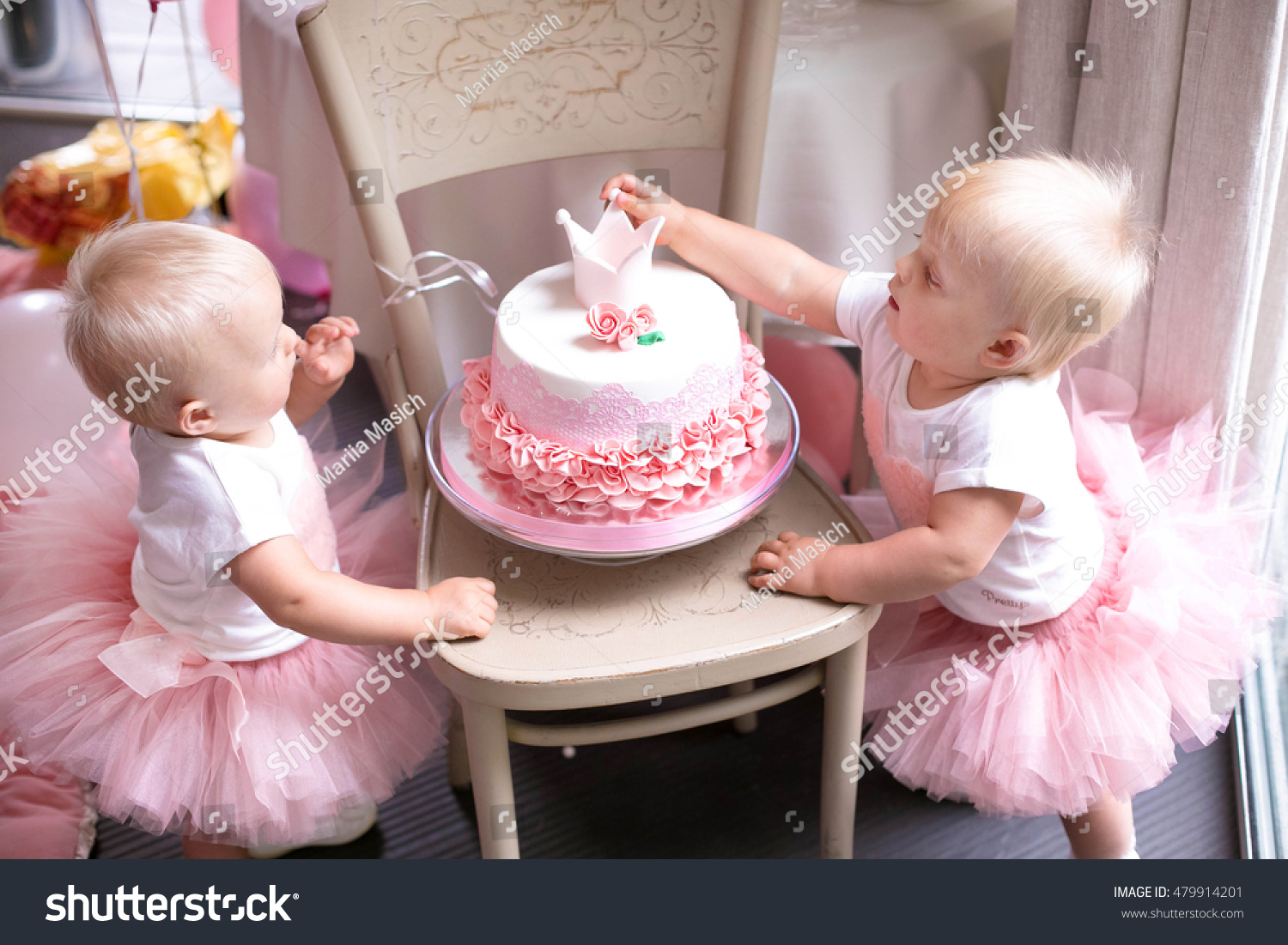 Twin Sister Birthday Girl Cake Wearing Pink Crown And Bunting Tasty Flowers In The