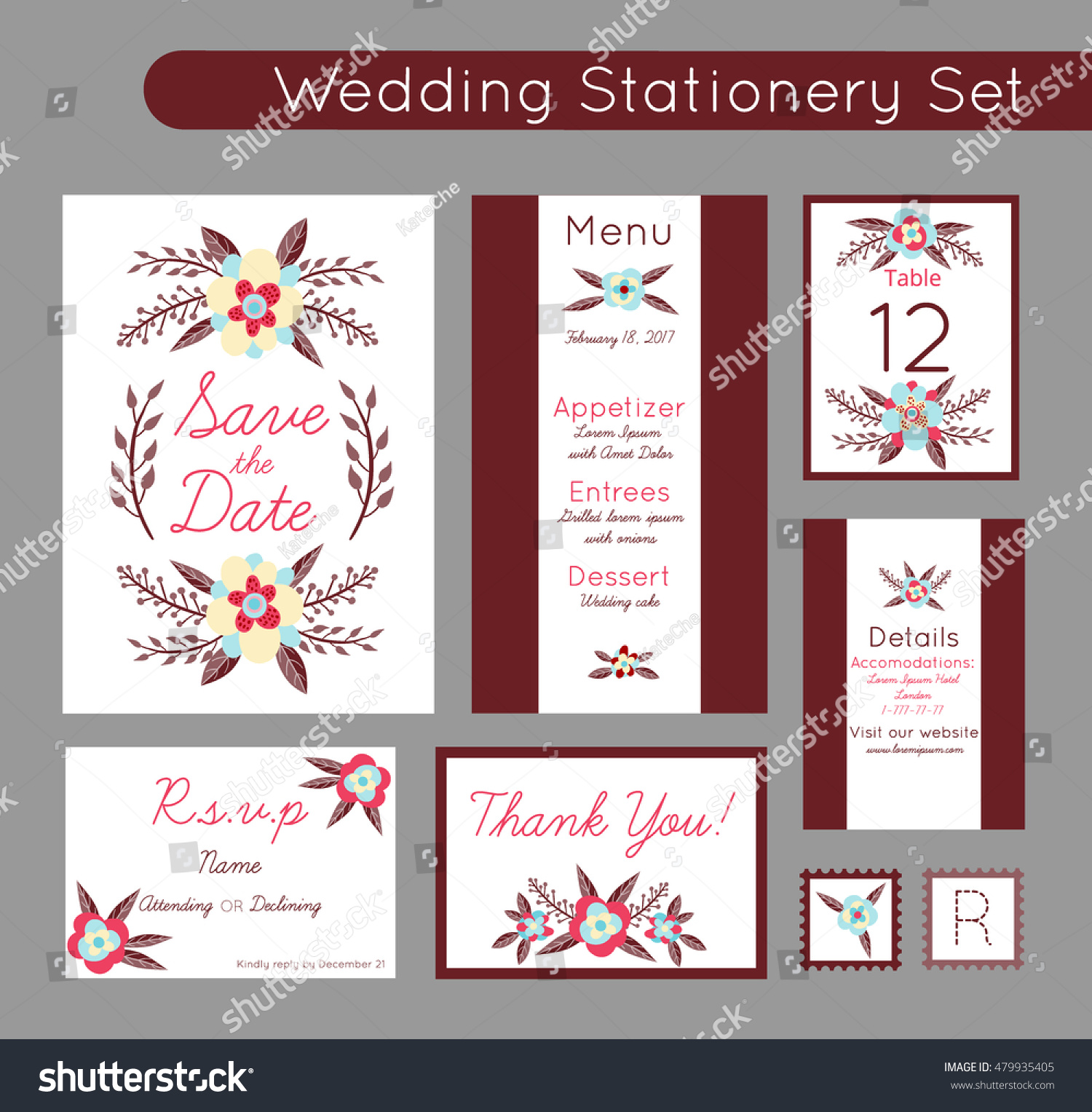 Set Invitations Templates Save Date Menu Stock Vector (Royalty Free ...