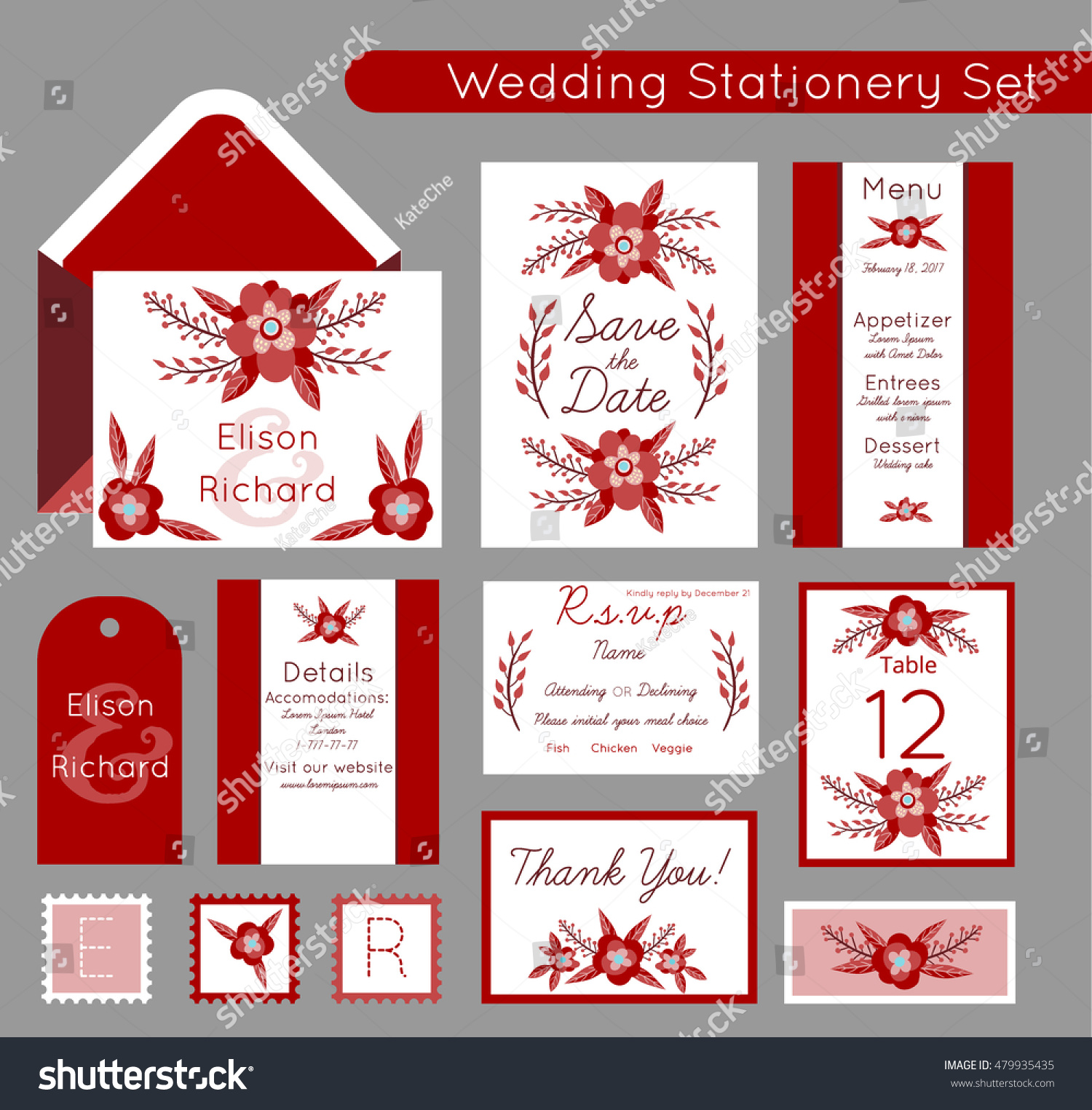 Set Invitations Templates Save Date Menu Stock Vector 479935435 ...
