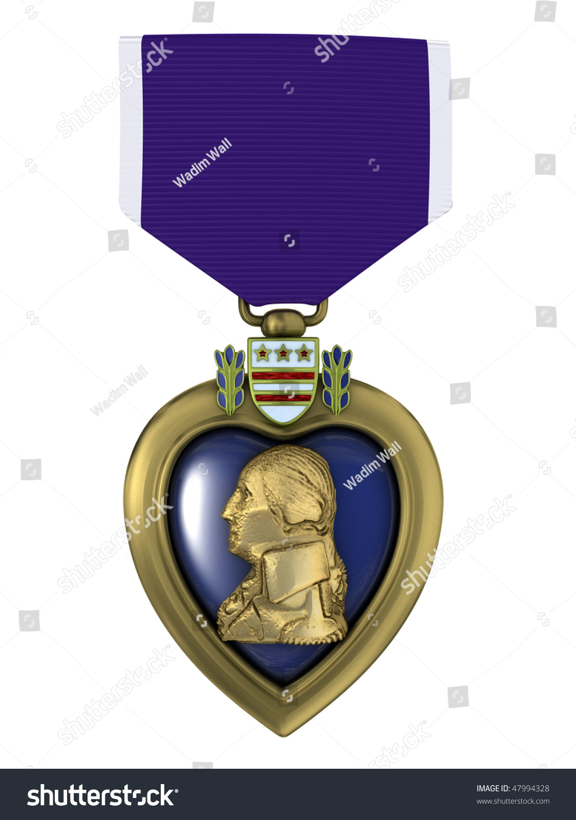 3d Render Purple Heart Medal Stock Illustration 47994328 ...
