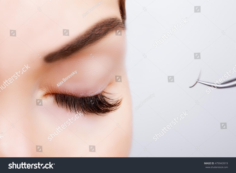 Woman Eye Long Eyelashes Eyelash Extension Stock Photo Edit Now