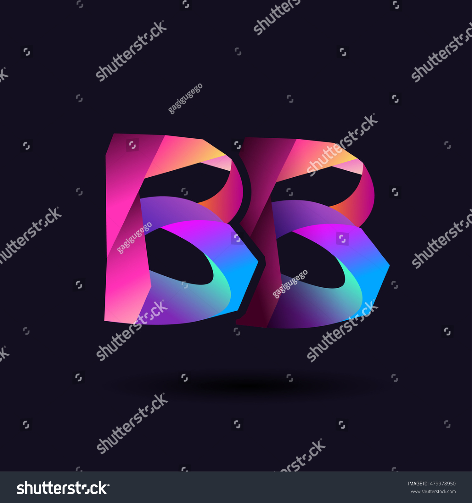 Colorful Letter Bb Vector Initial Logo Stock Vector Royalty Free