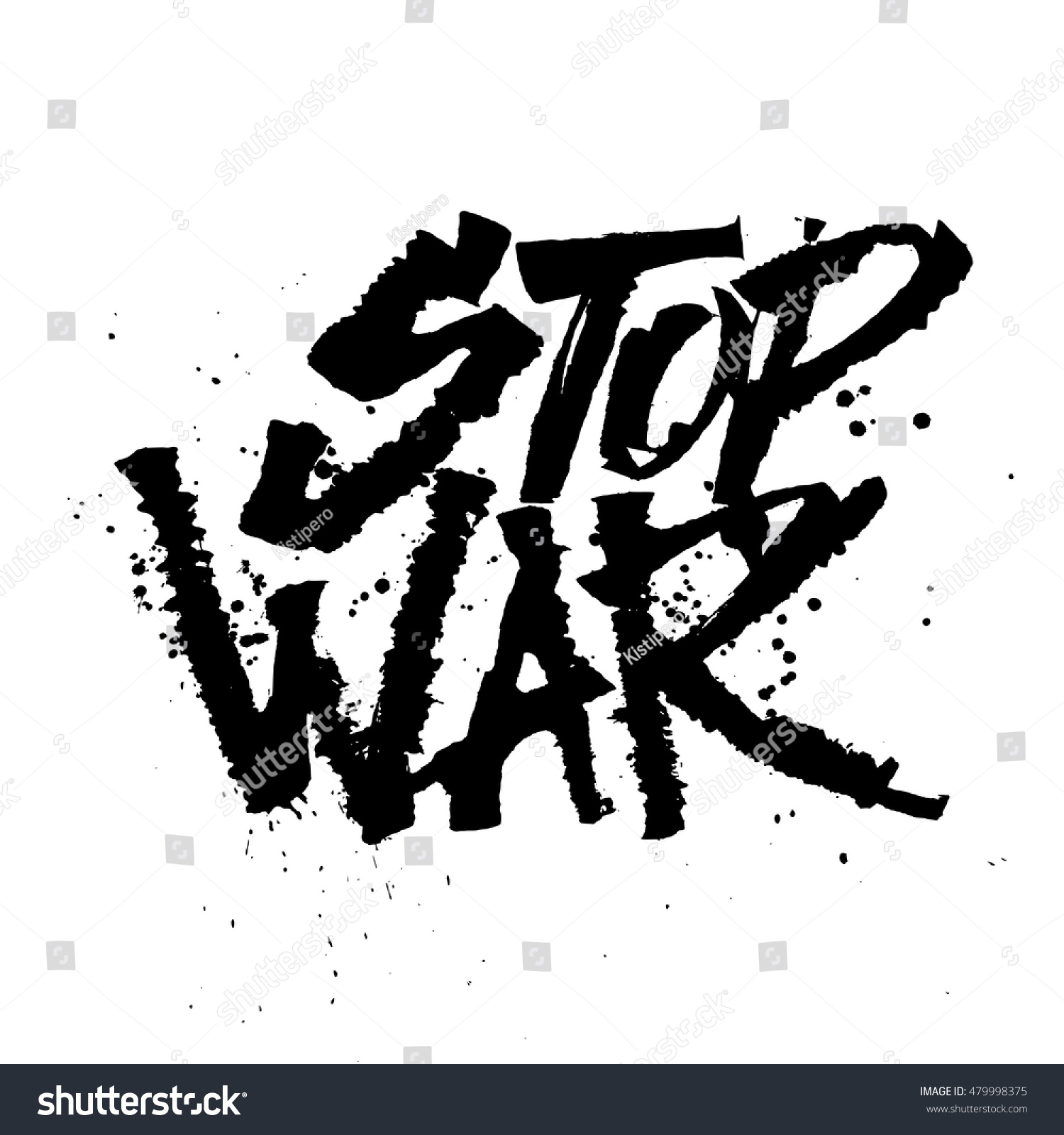 Stop war cola pen calligraphy font stock vector