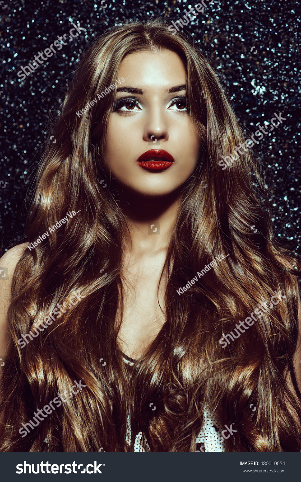 Gorgeous Young Woman Sensual Red Lips Stock Photo Edit Now
