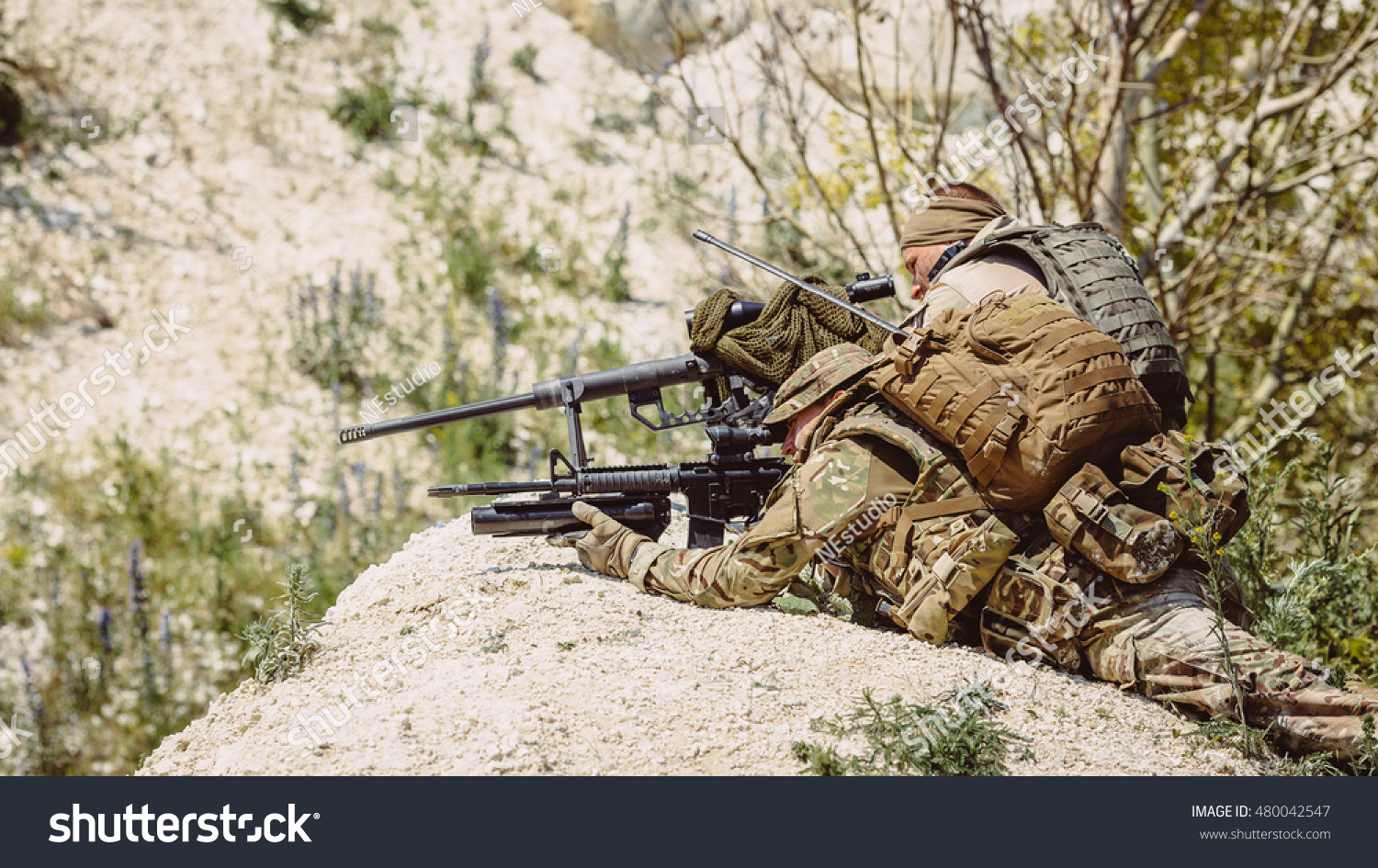 British Army sniper during the military operation in the mountain. war, army,  technology