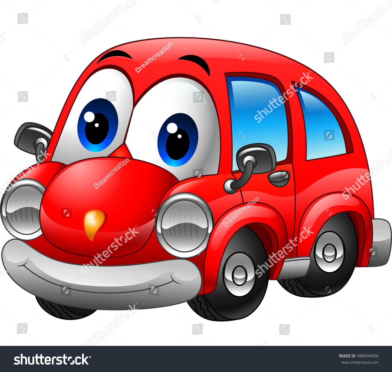 Cartoon Police Car Character Vector Illustration Stock