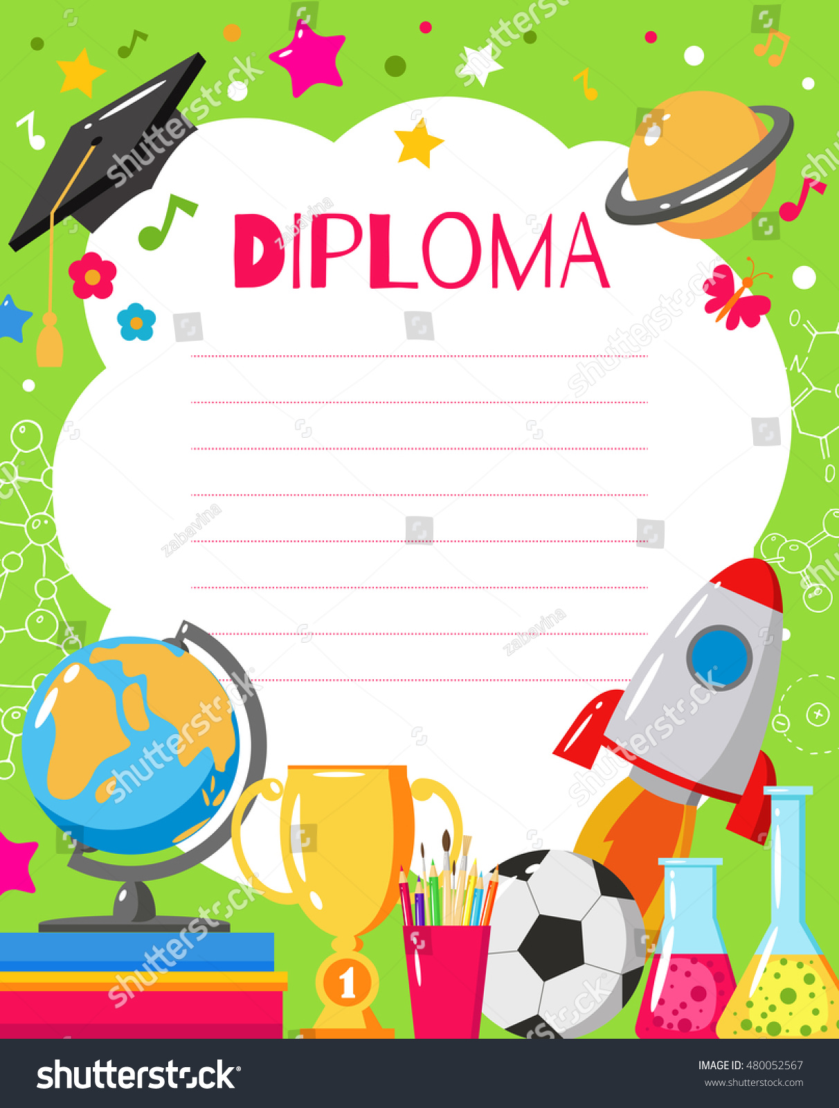 Template childrens diplomas certificates kids award stock vector template of childrens diplomas and certificates kids award template for preschool elementary school alramifo Gallery