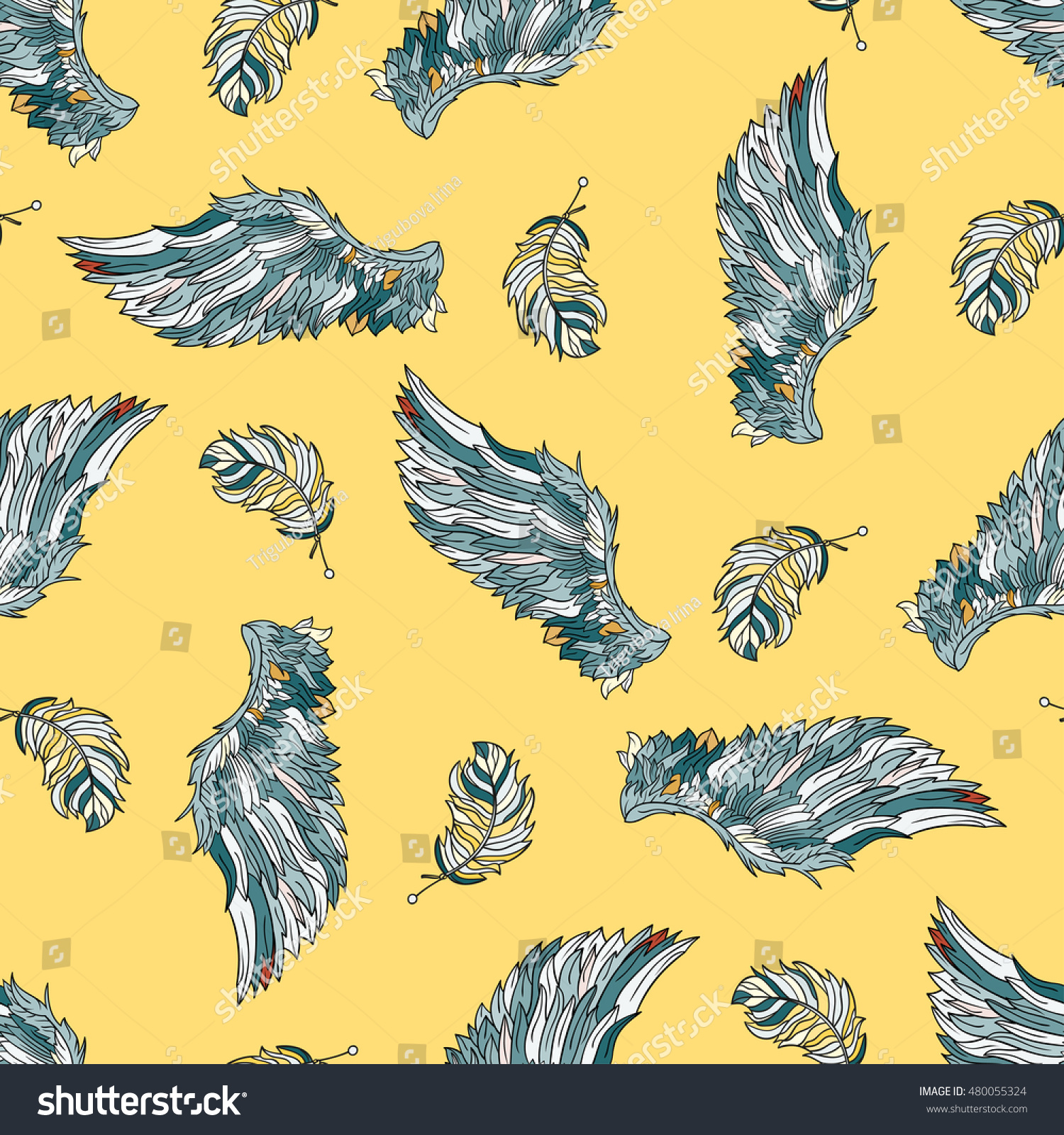 Seamless pattern with angel wings. Hand drawn doodle colored ...