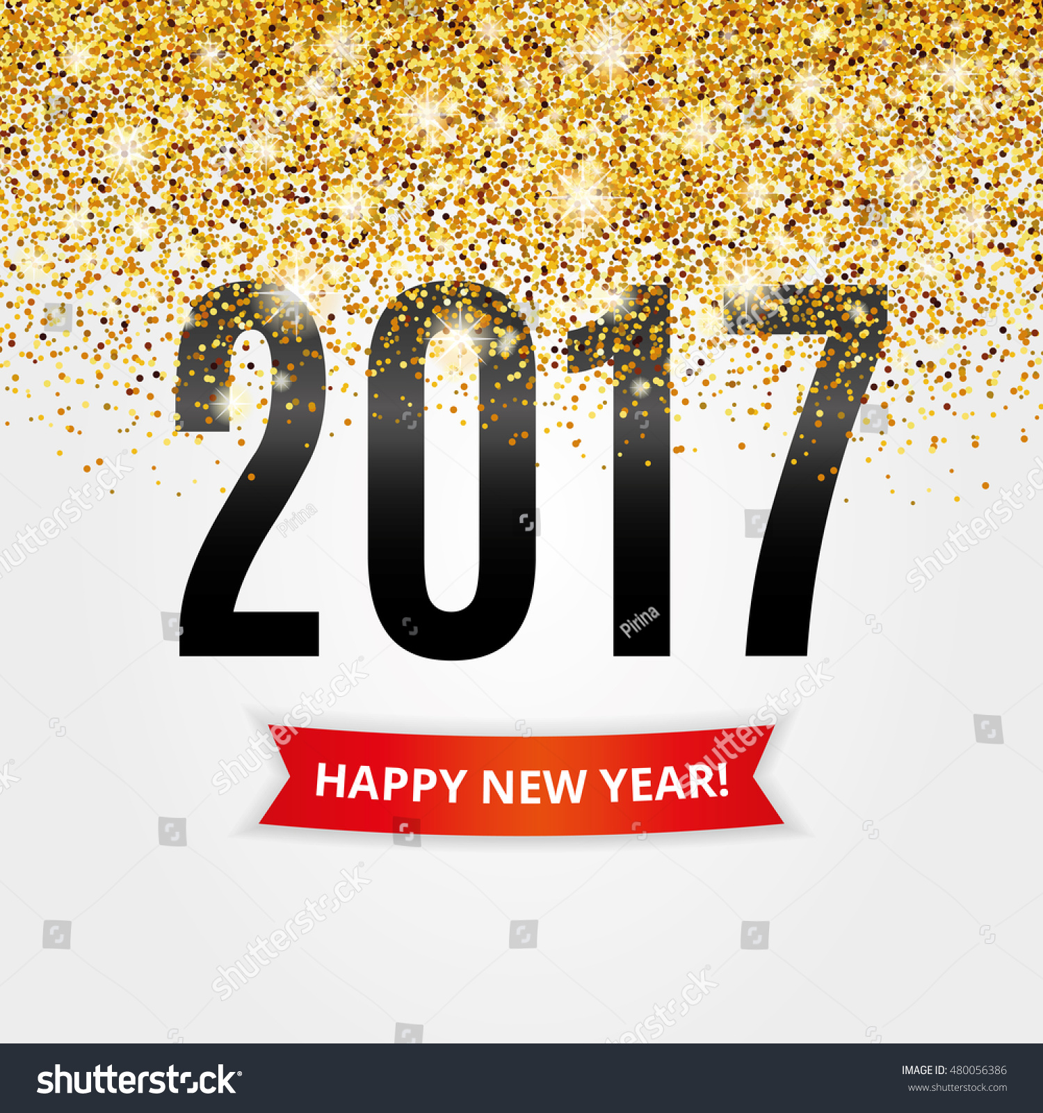 Happy New Year Gold Glitter New Stock Vector 480056386 - Shutterstock